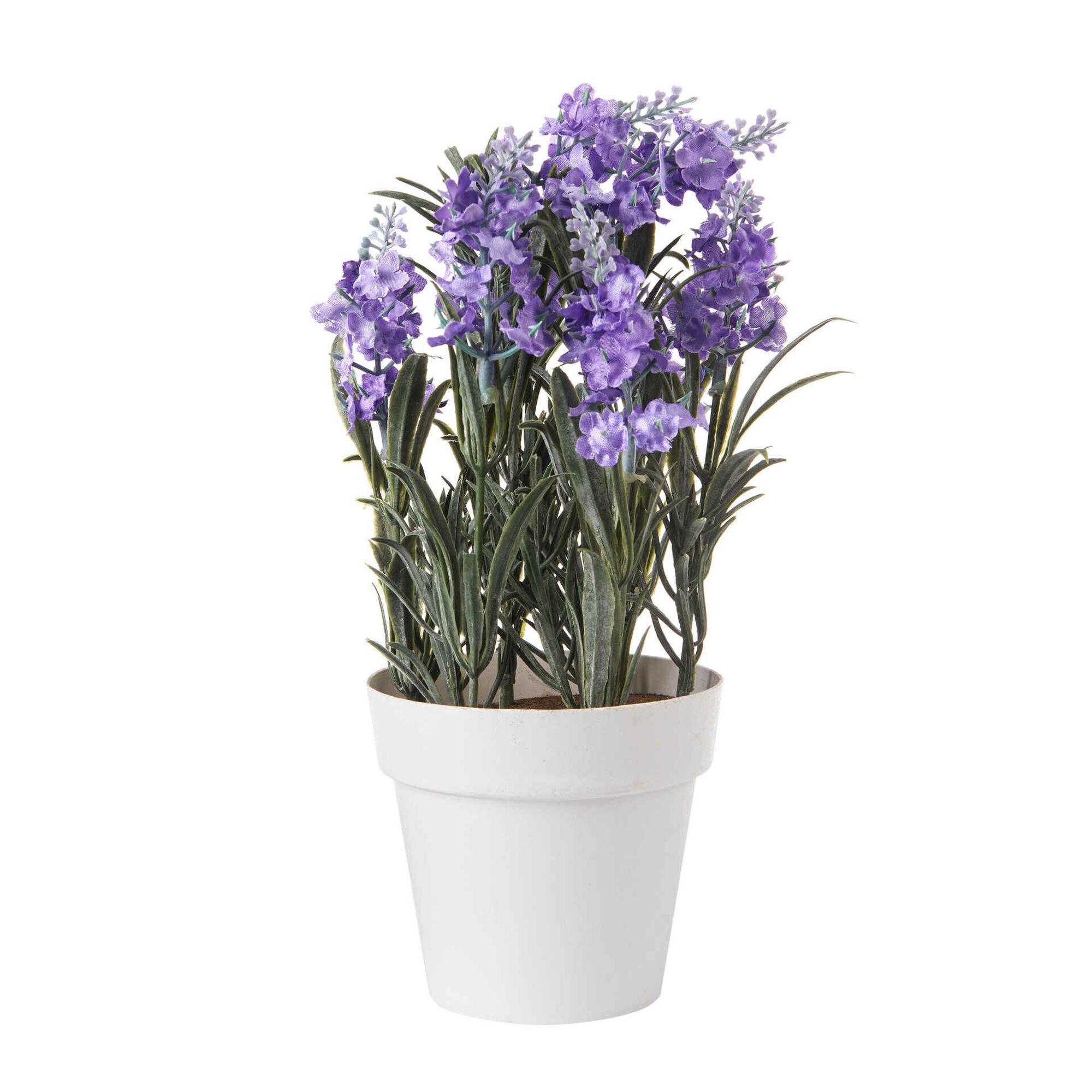 Planta Artificial Flores Lilás com Vaso Branco