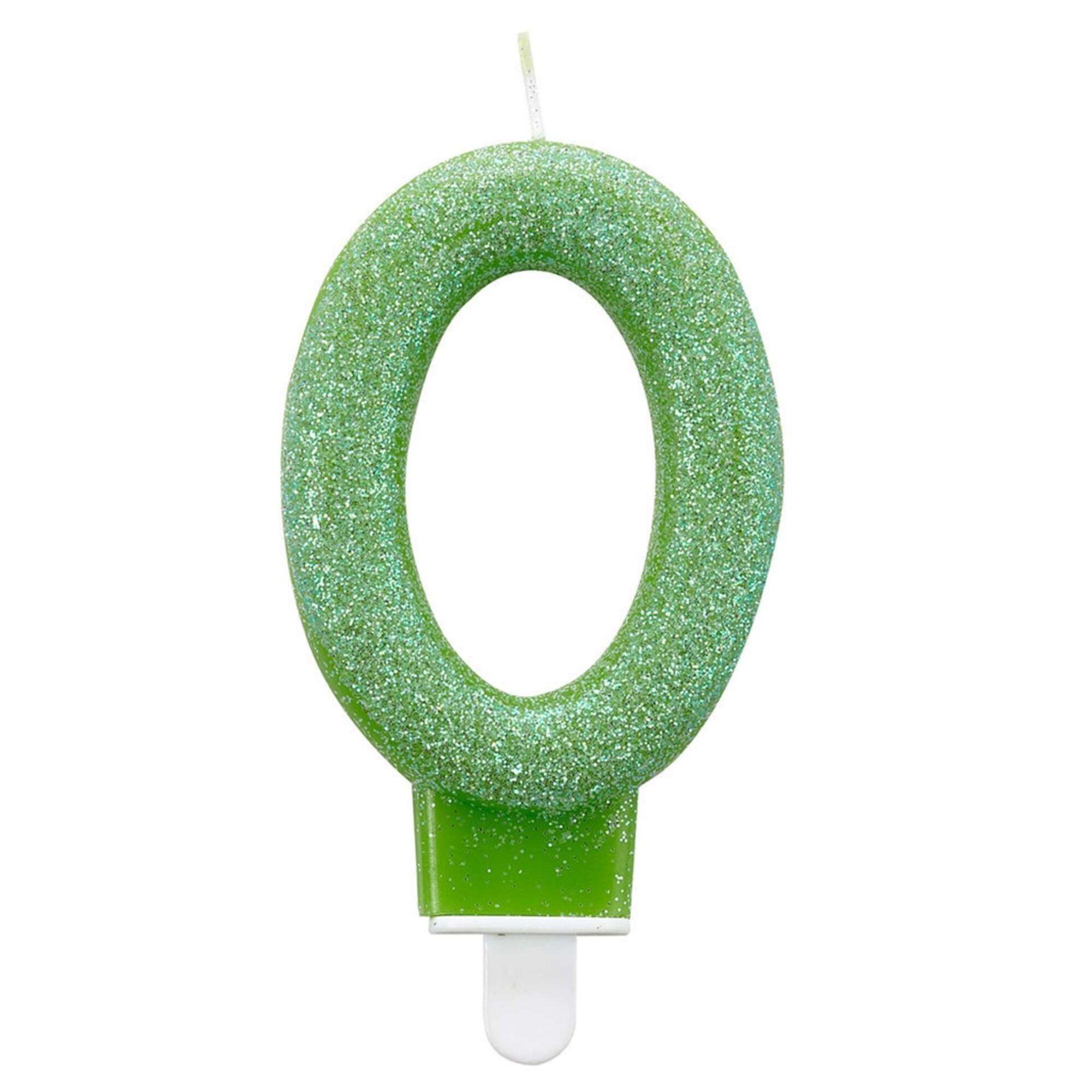Vela Nº0 Verde Glitter