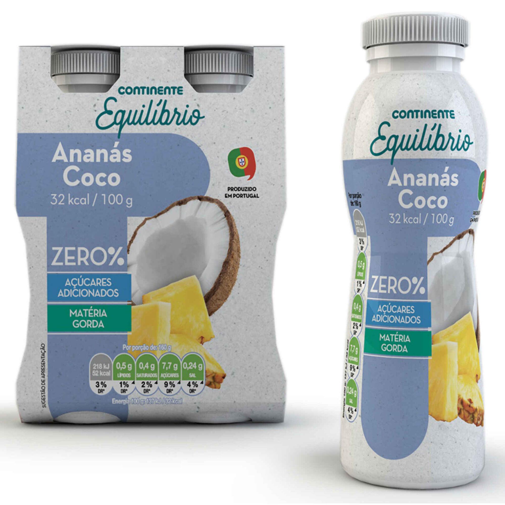 Iogurte Líquido Zero% Ananás e Coco