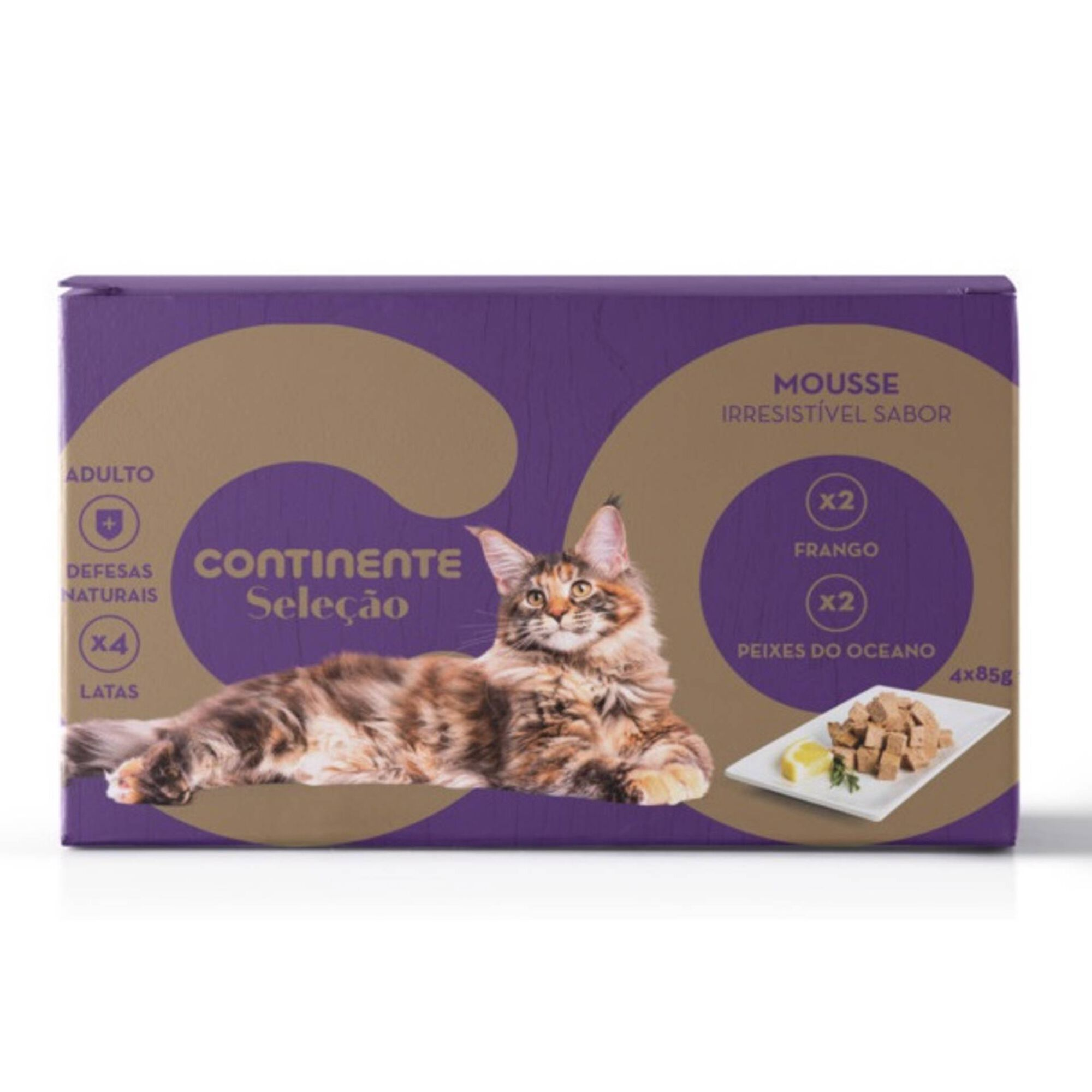 Comida Húmida para Gato Adulto Mousse Frango e Peixe Lata