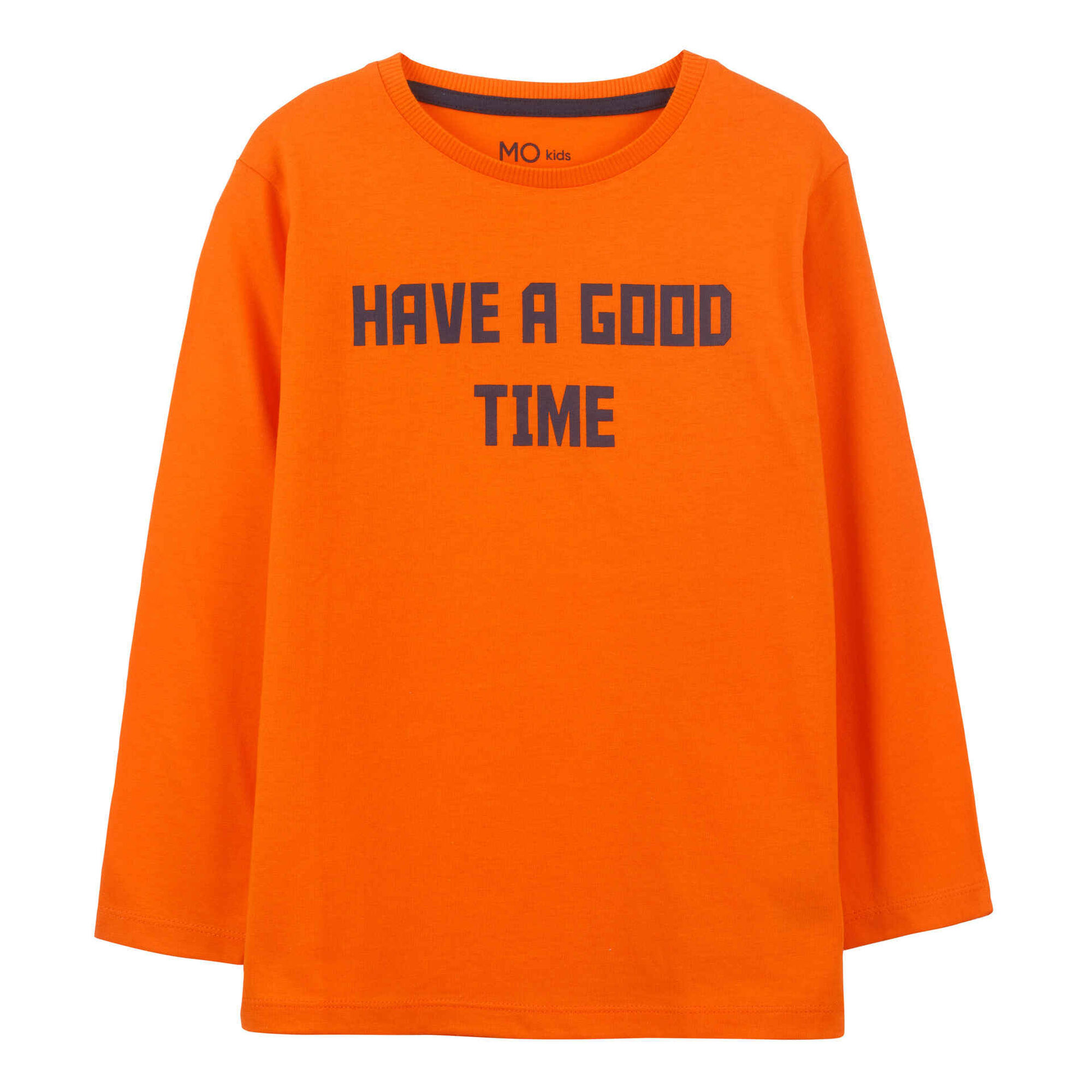 T-shirt Good Time Manga Comprida Algodão Laranja