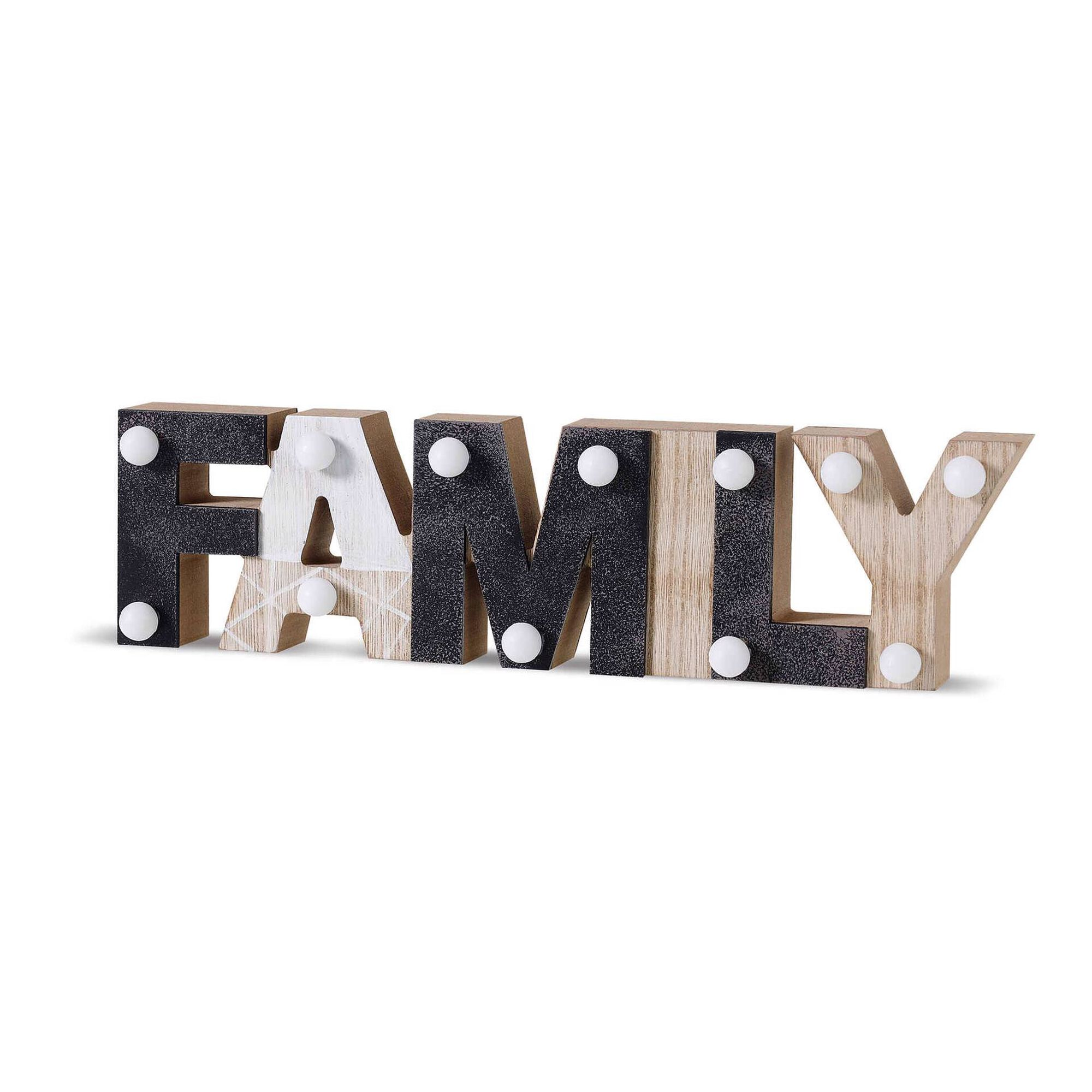 Letras Family com LED Madeira 30x8cm