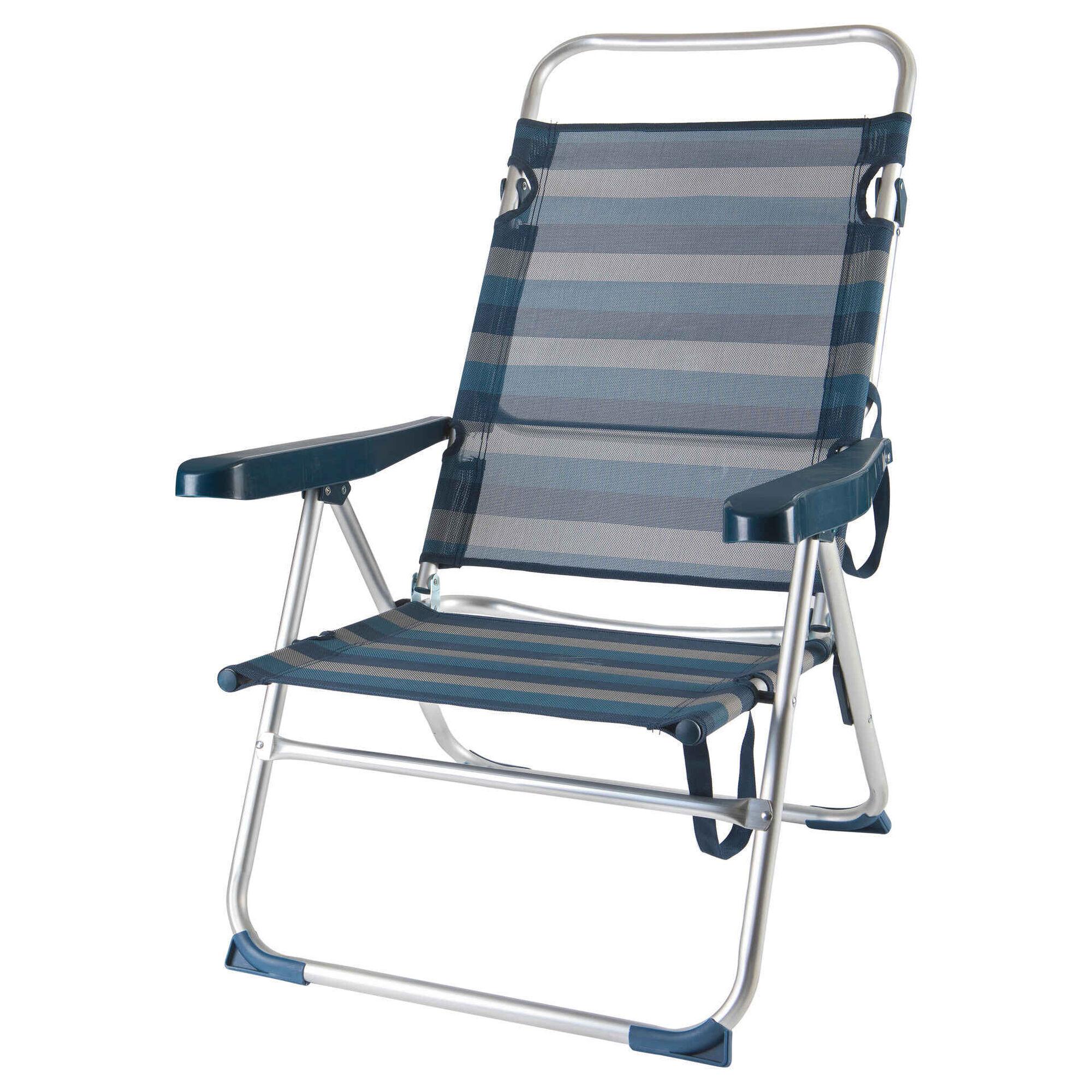 Cadeira de Praia Costas Altas Multiposições Azul e Branca