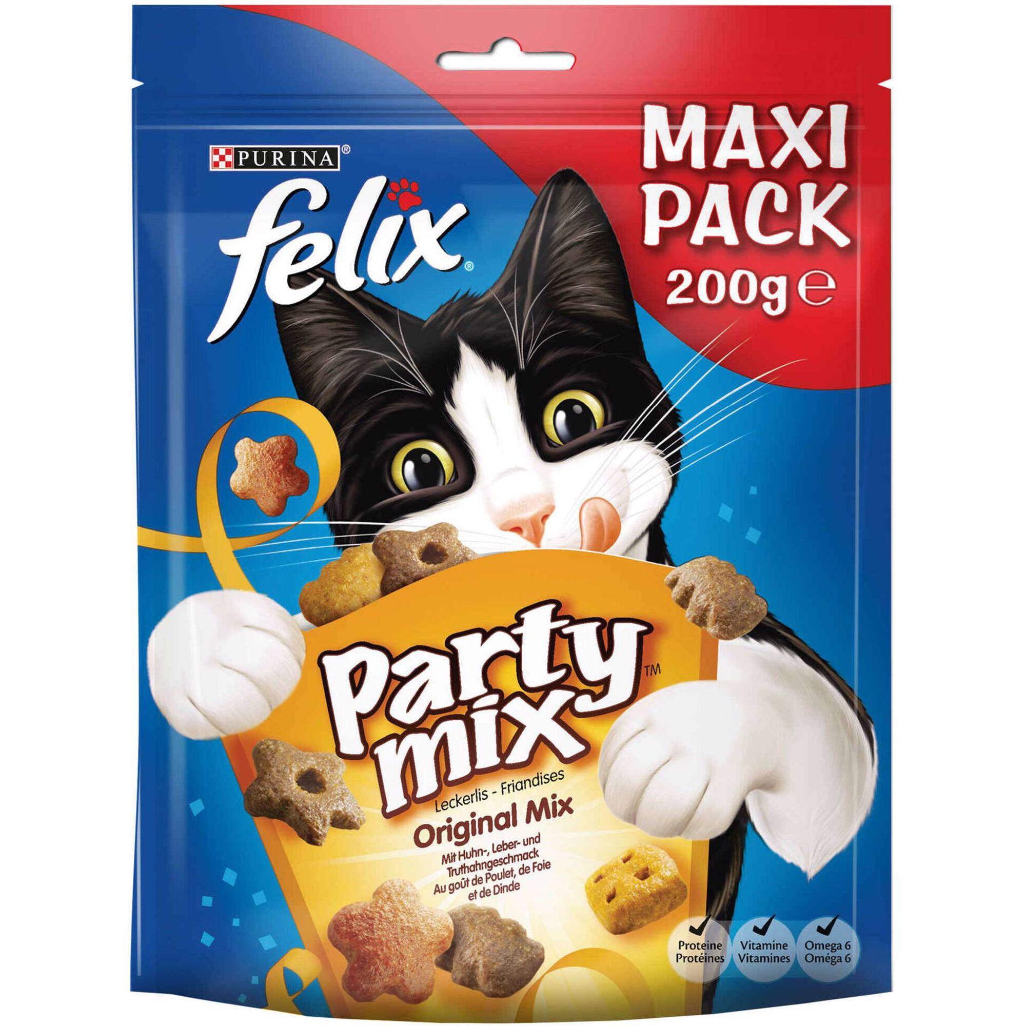 Snack para Gato Adulto Party Mix Original Frango, Fígado e Peru