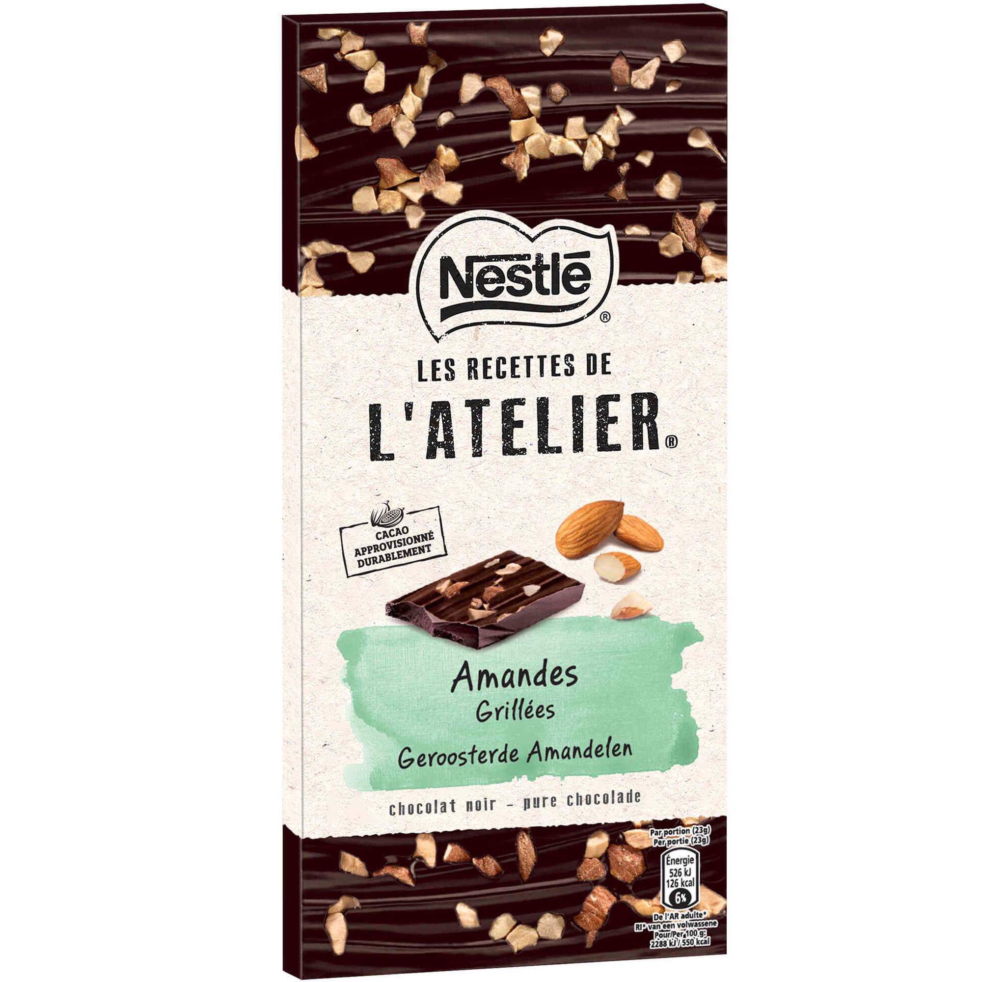 Tablete de Chocolate Negro com Amêndoa Les Recettes de L'Atelier