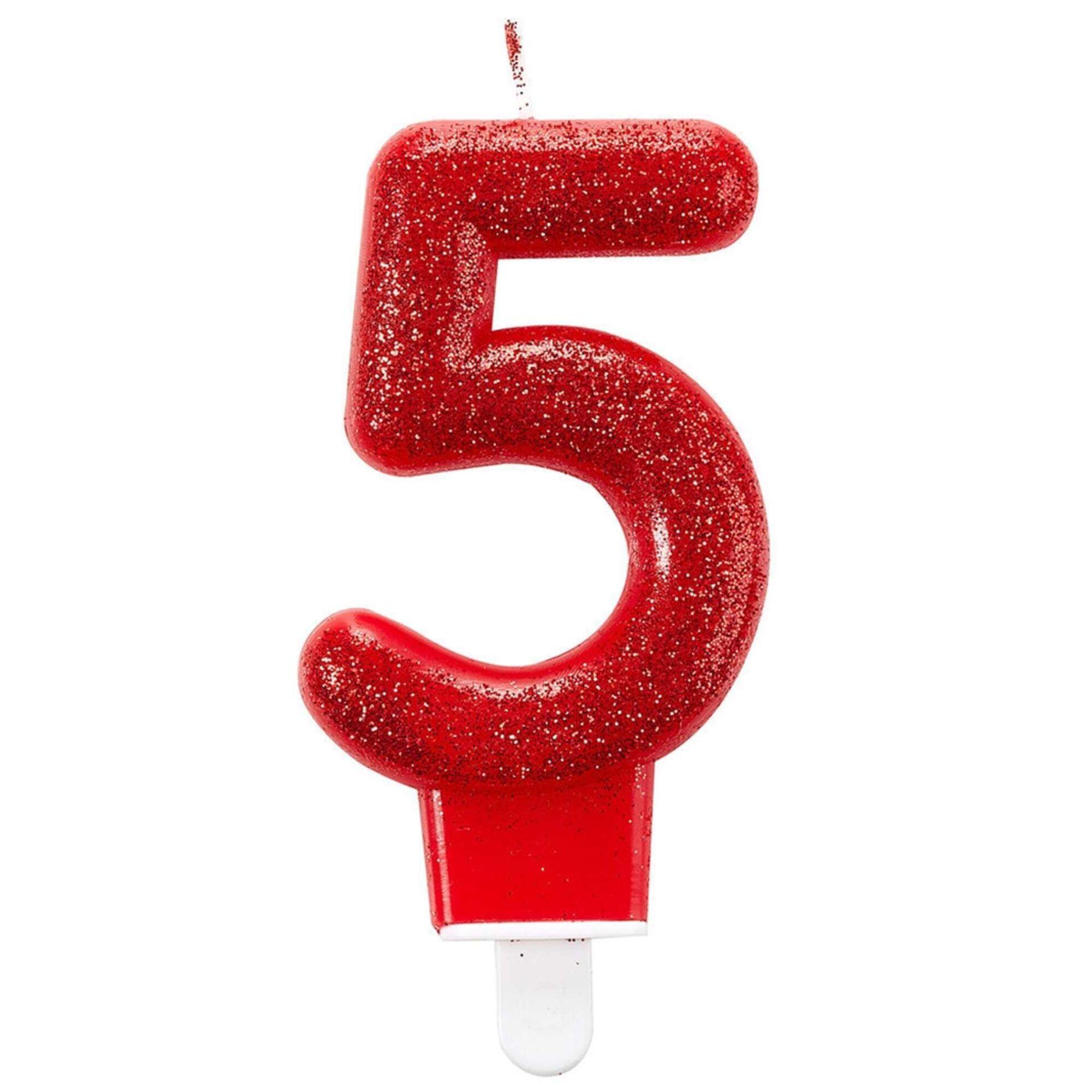 Vela Nº5 Vermelha Glitter