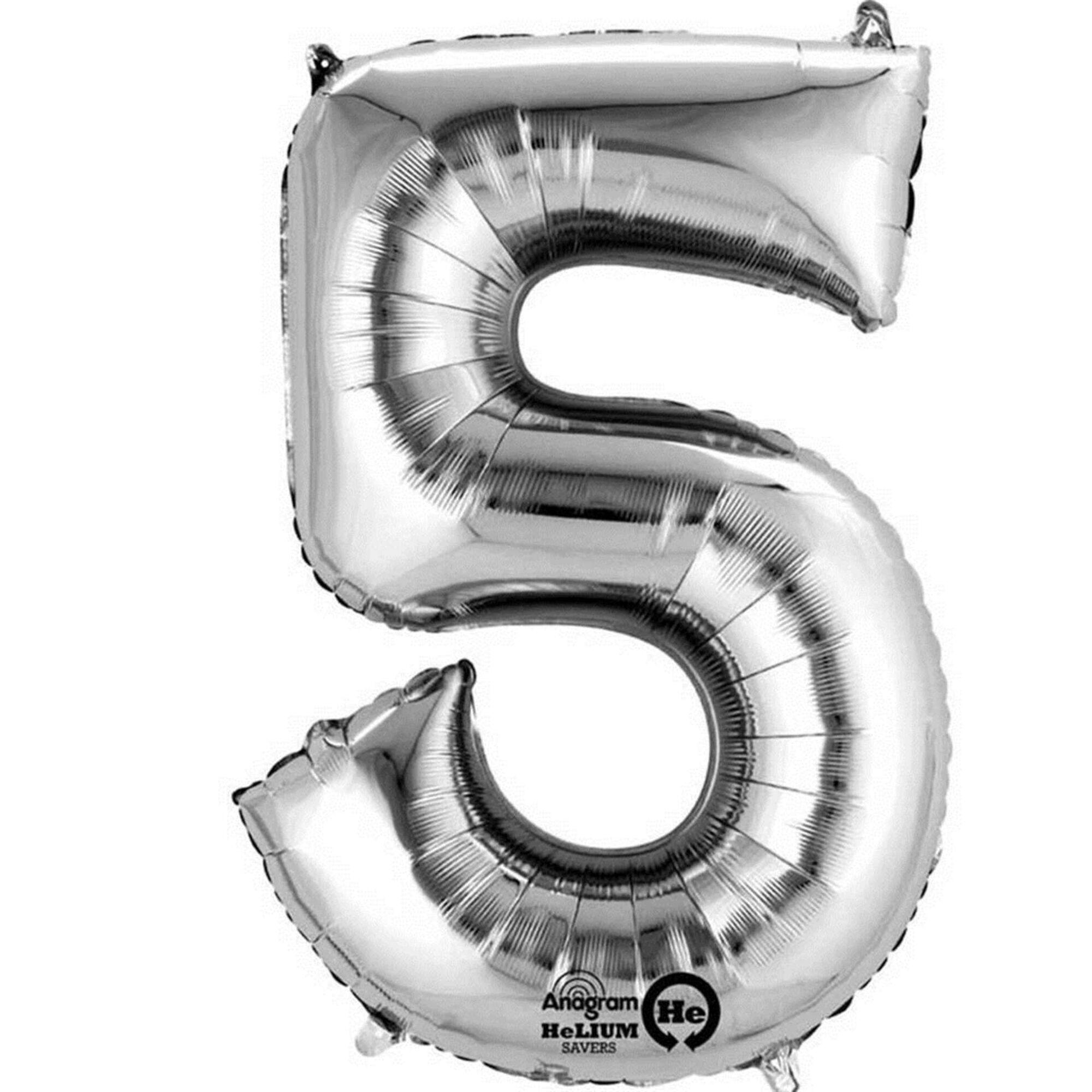 Balão Foil Nº5 40cm Prateado
