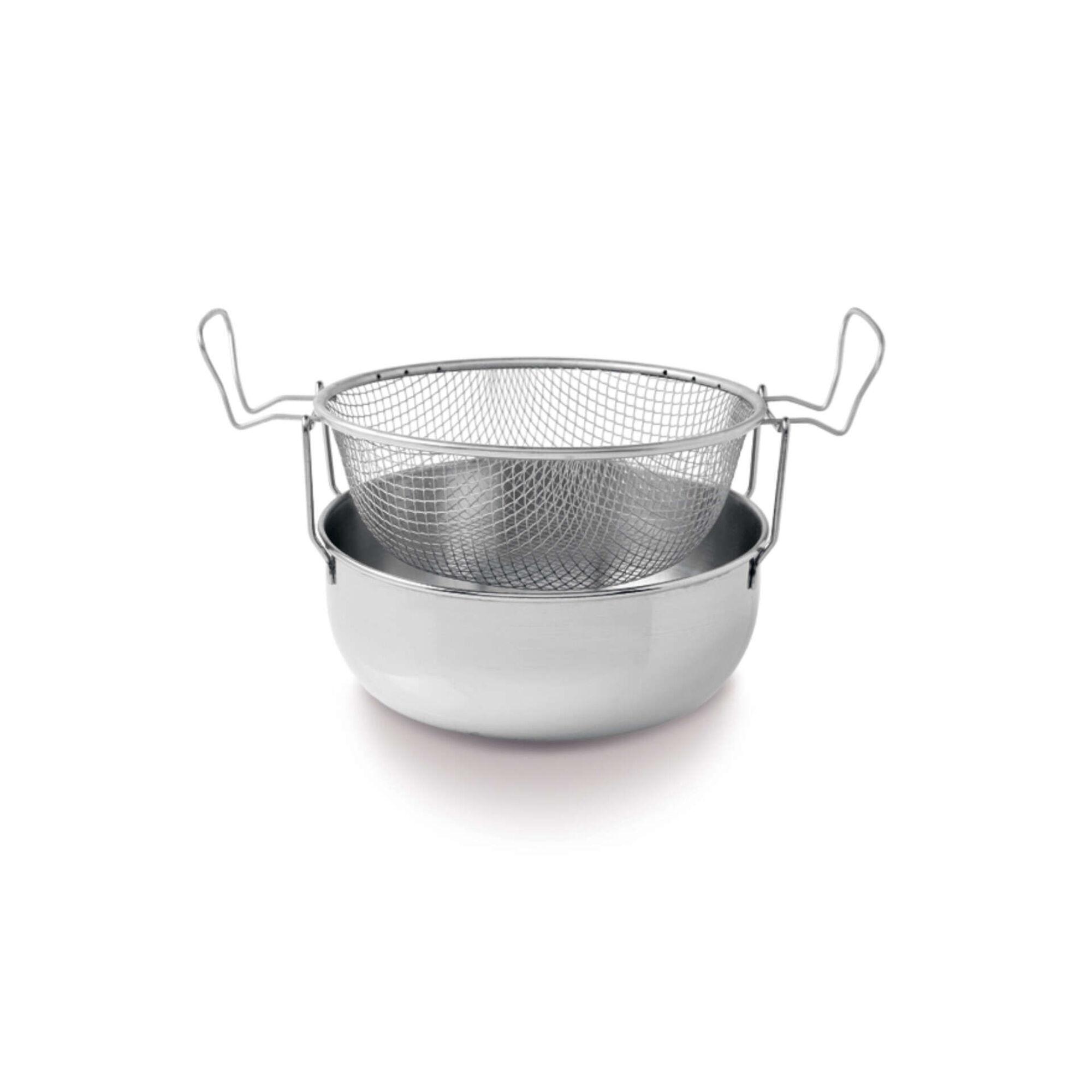 Caçarola Fritadeira Aço Inoxidável com Cesto 24cm