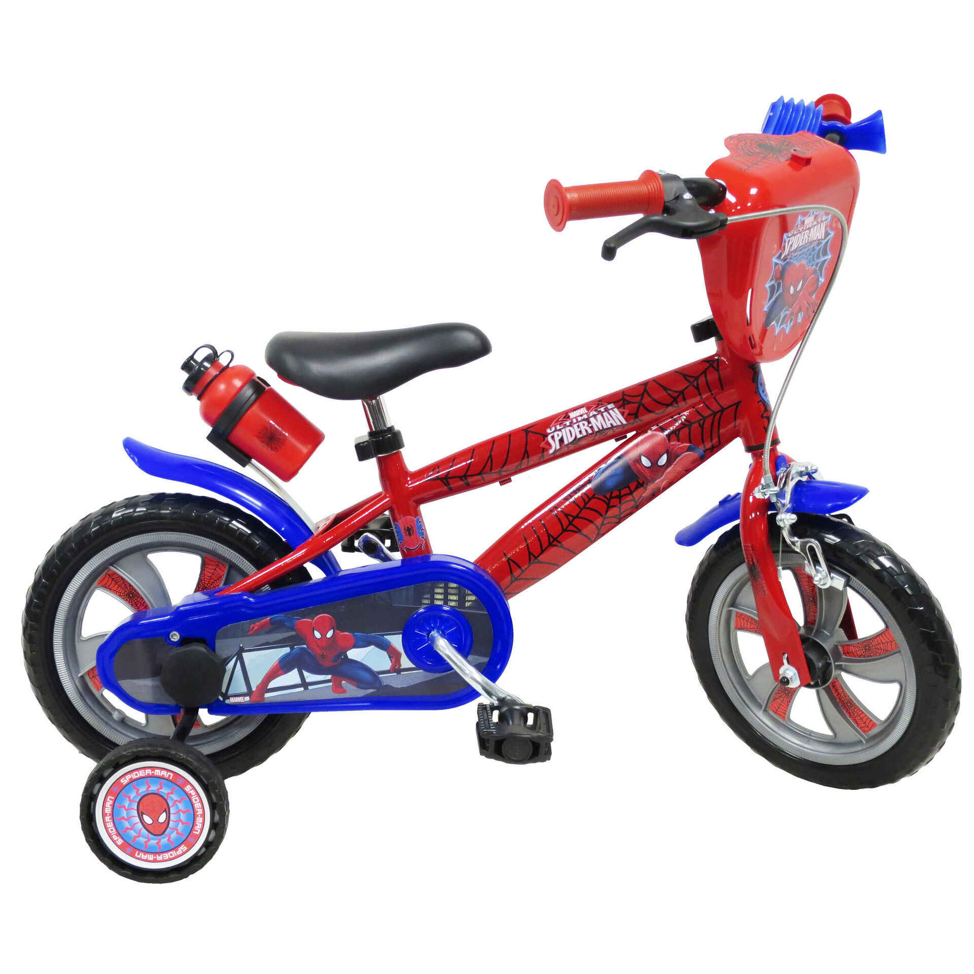 """Bicicleta Criança Roda 12"""" 3-5 Anos Azul e Vermelha"""
