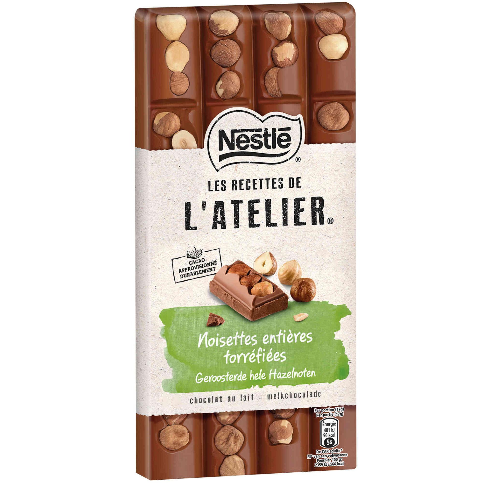 Tablete de Chocolate de Leite com Avelã Les Recettes de L'Atelier
