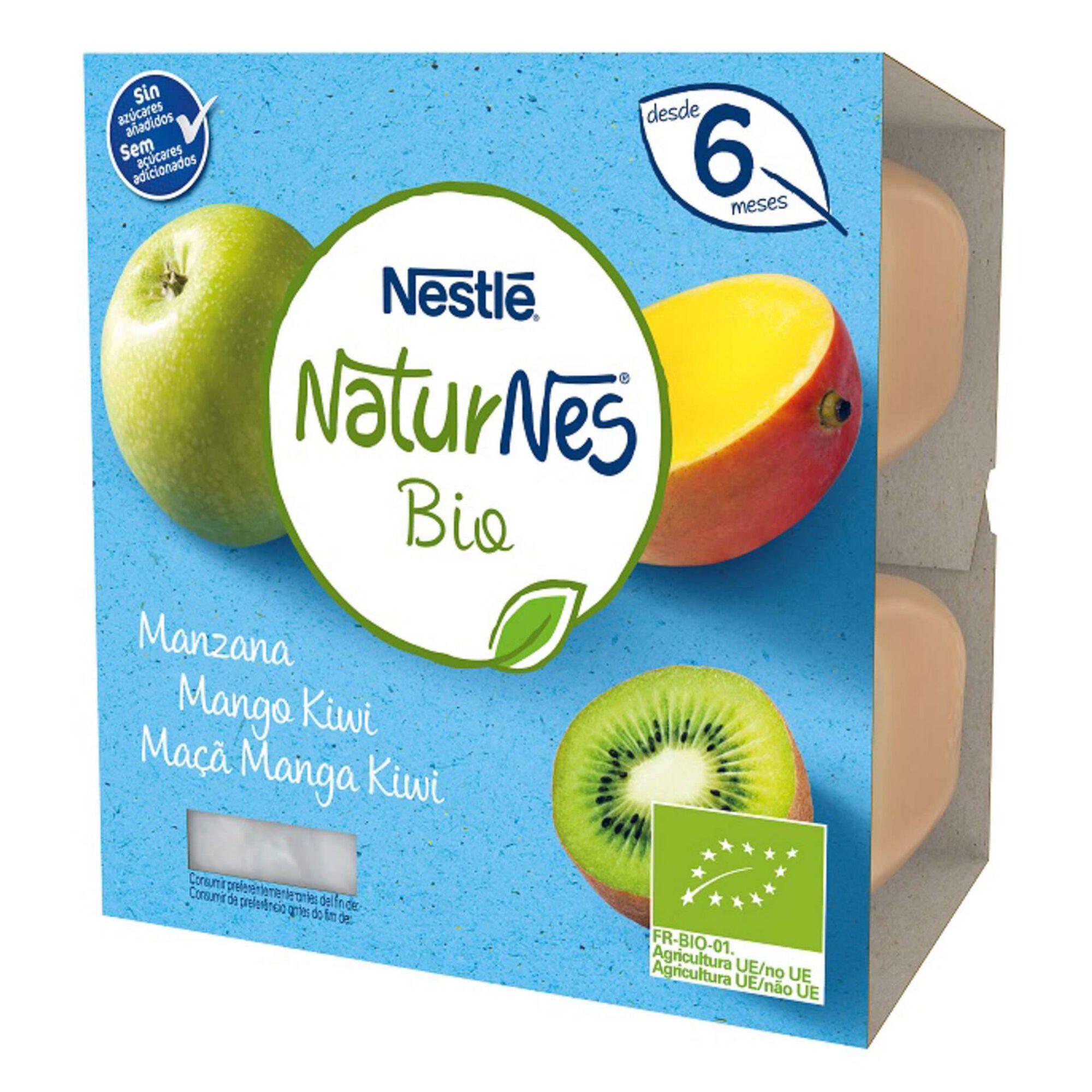 Puré de Fruta Maçã, Manga e Kiwi Naturnes Bio +6 Meses