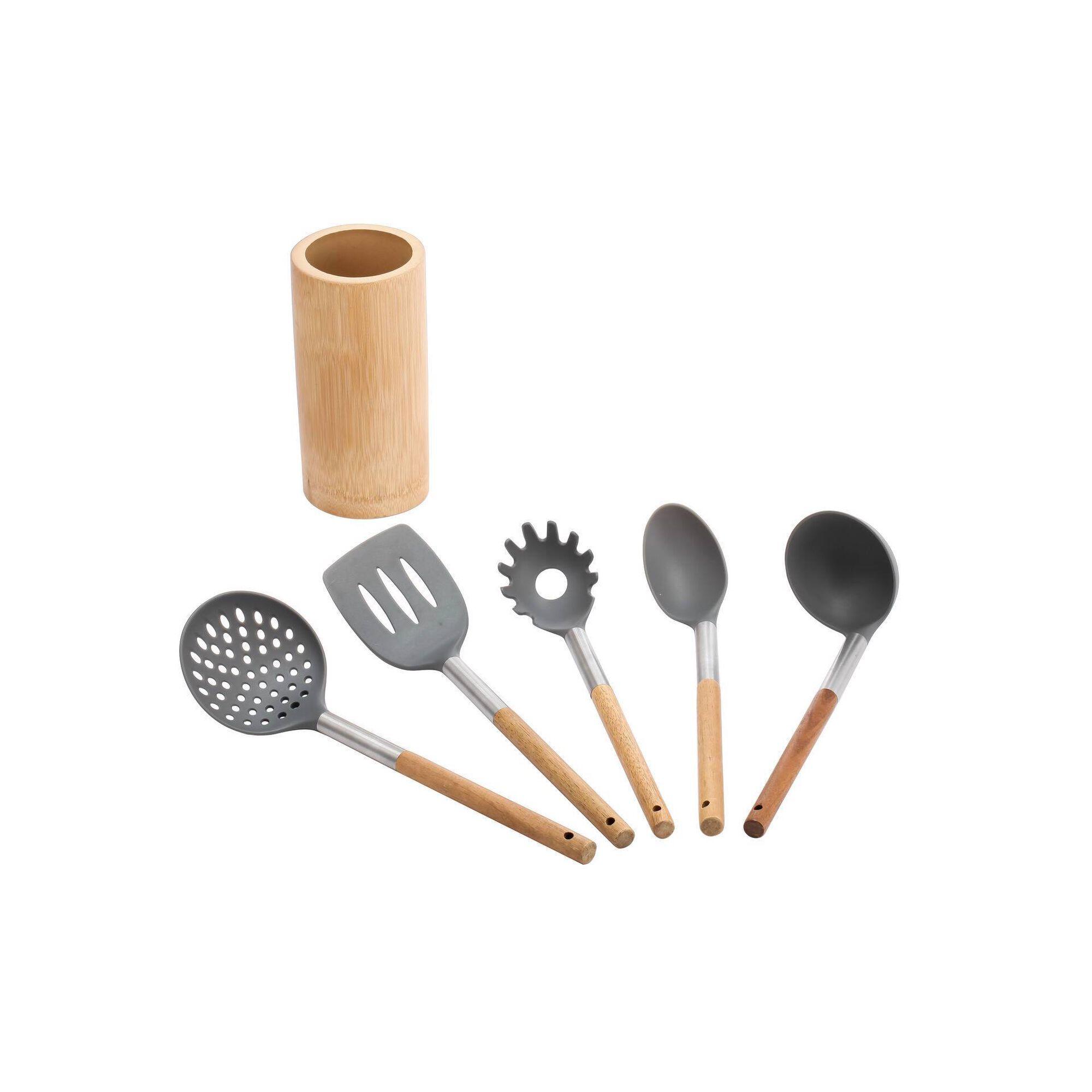 Conjunto 5 Utensílios de Cozinha com Suporte
