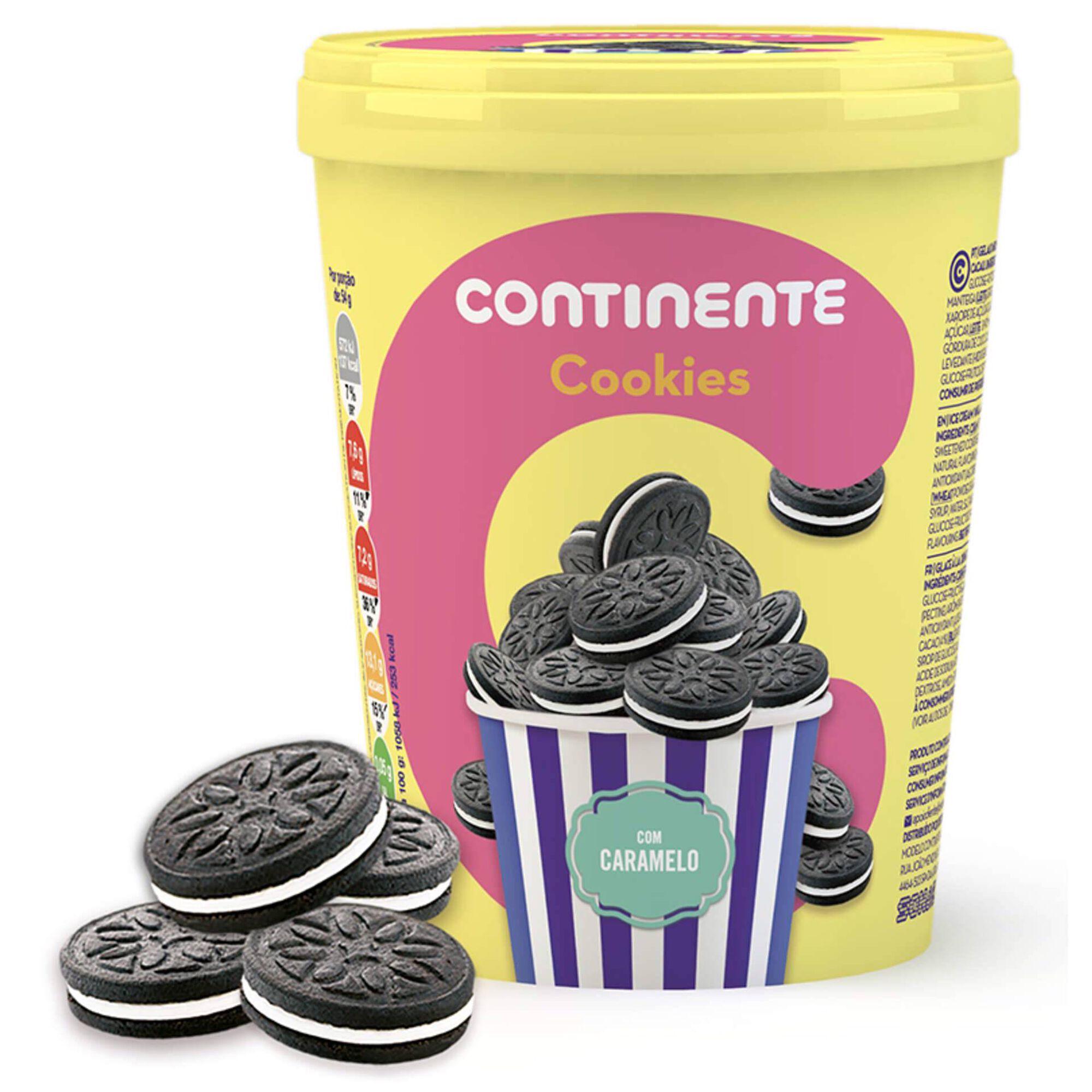 Gelado de Cookies com Caramelo