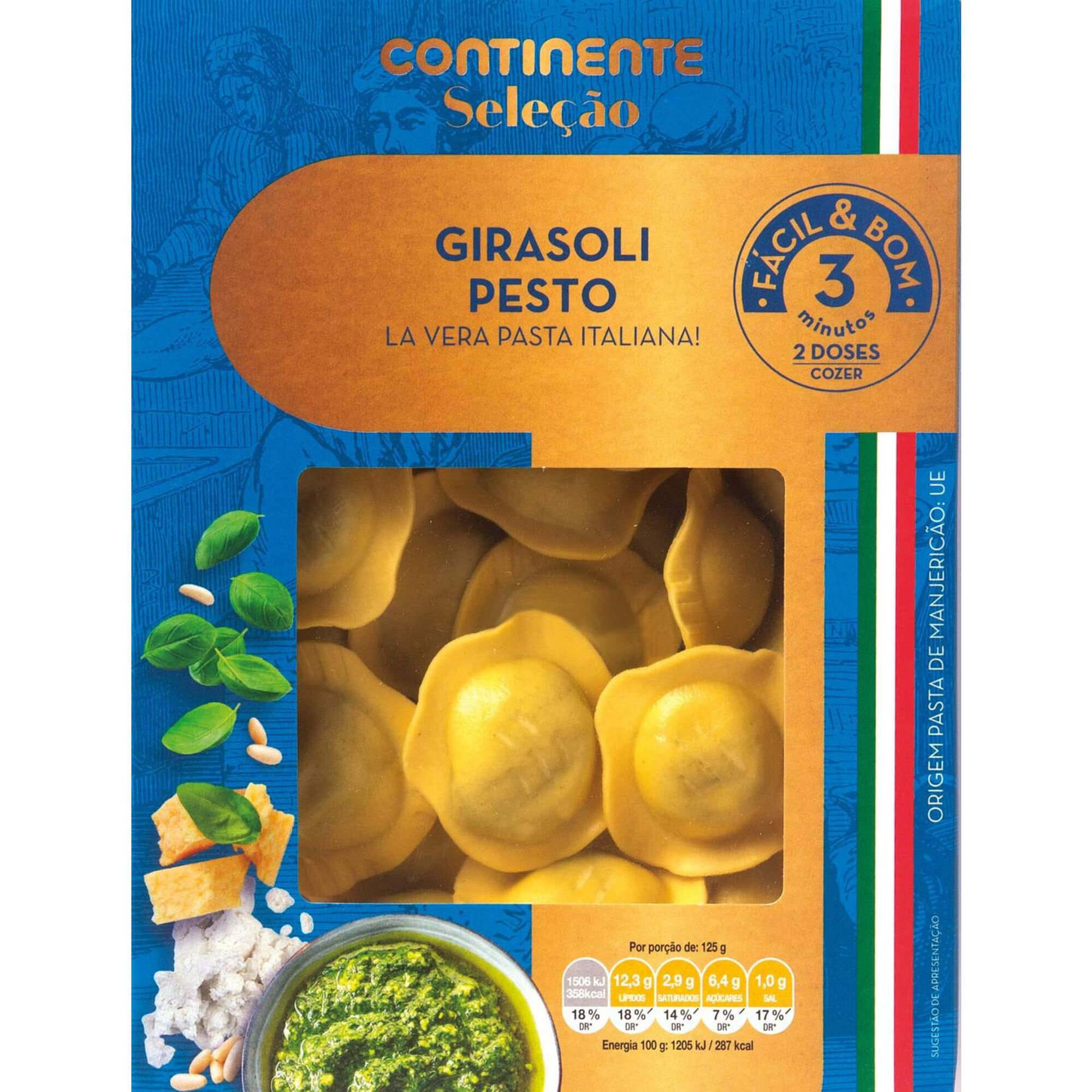 Girasoli Fresco com Pesto, Ricotta, Pecorino e Pinhões