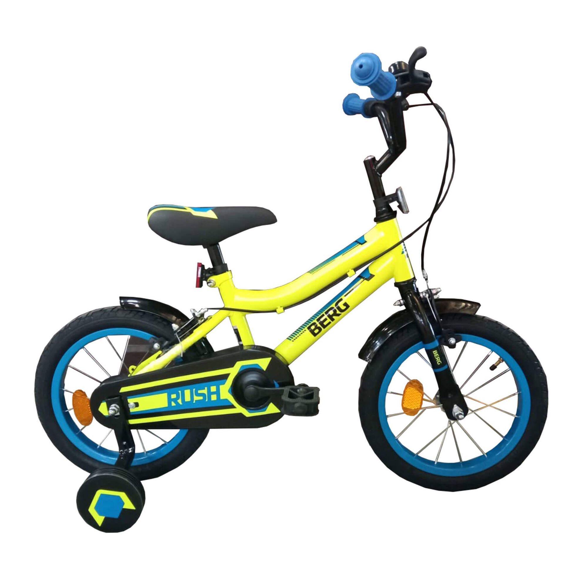 """Bicicleta Criança Roda 14"""" 4-6 Anos Amarela e Azul"""