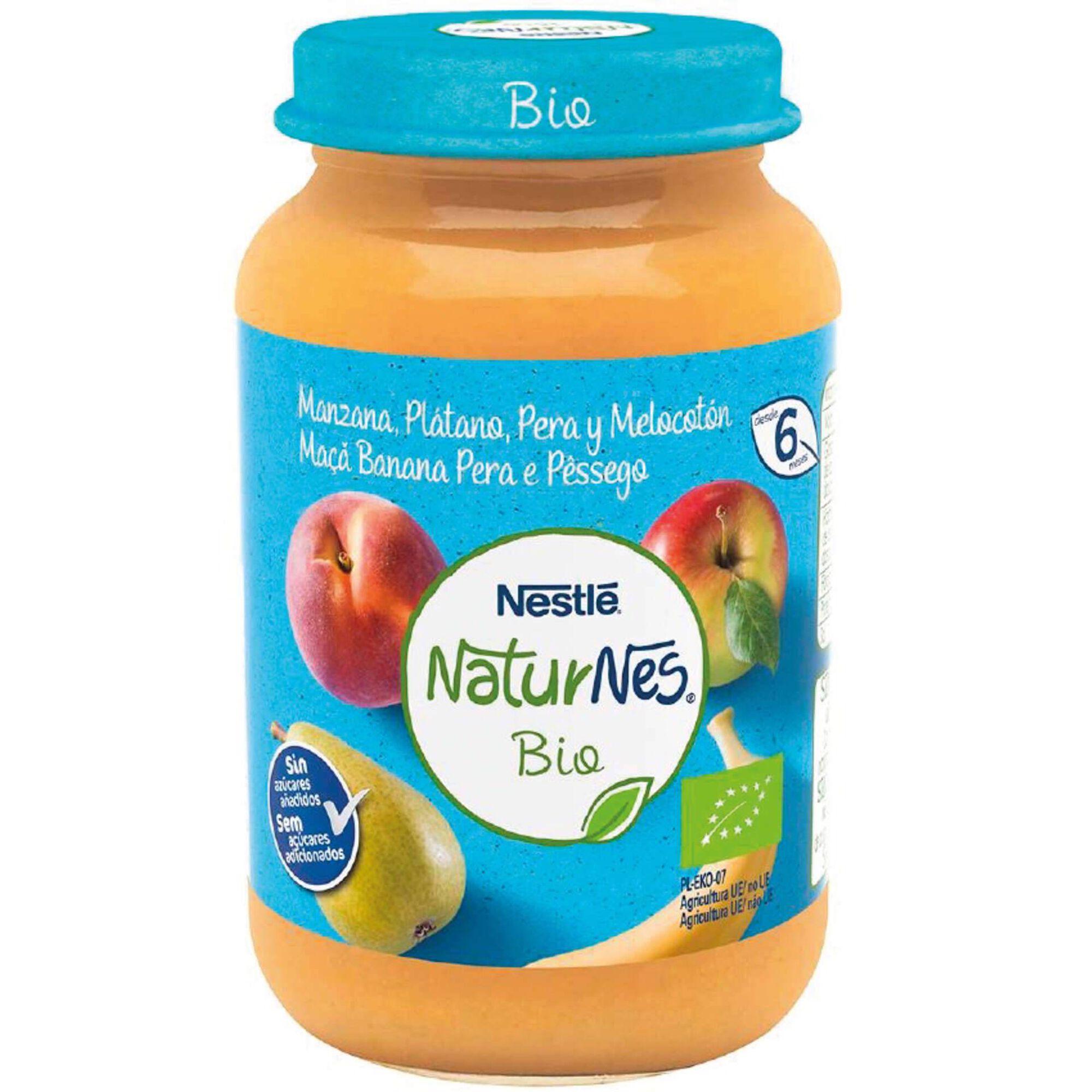 Boião de Fruta Maçã, Banana, Pera e Pêssego Naturnes Bio +6 Meses