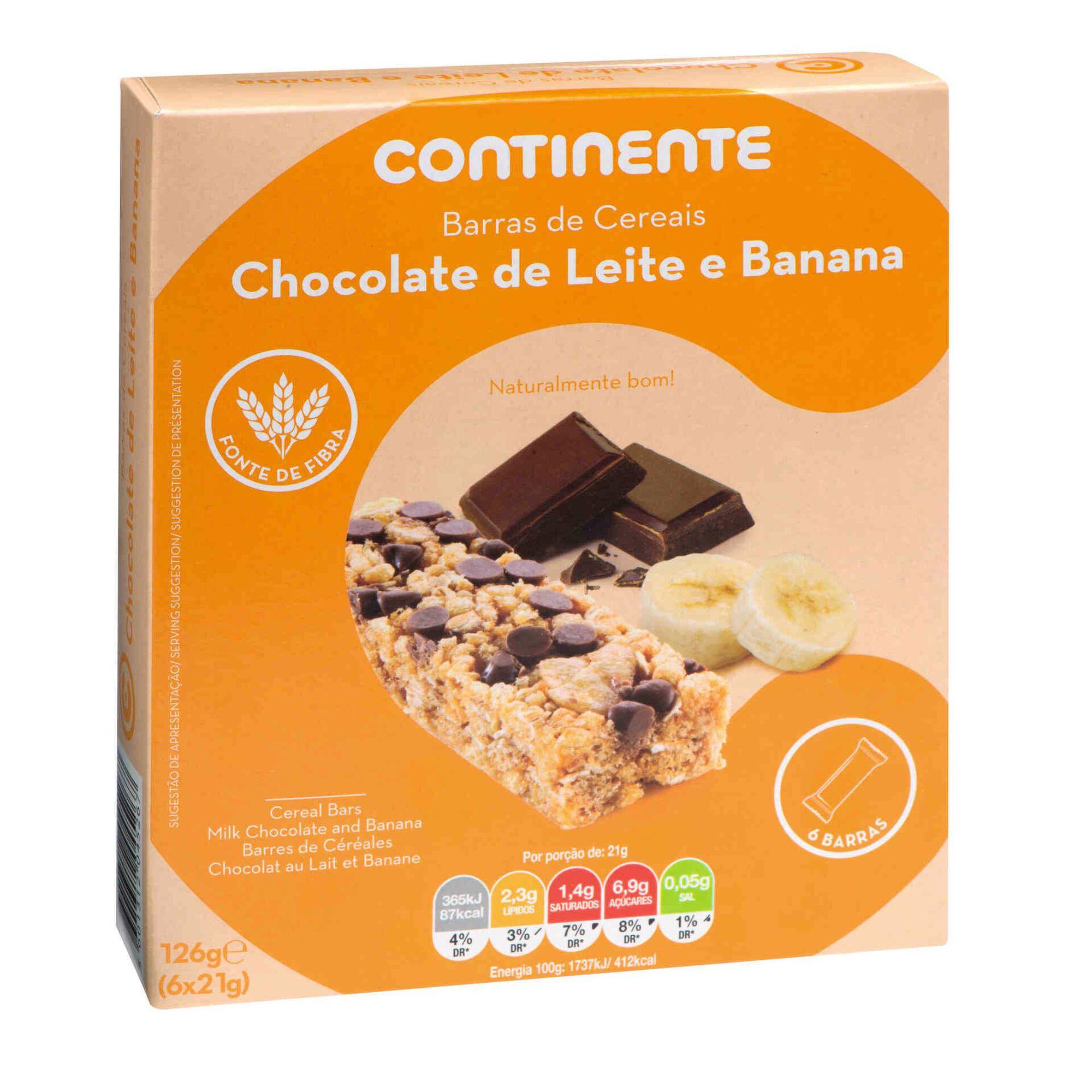 Barras de Cereais Chocolate de Leite e Banana