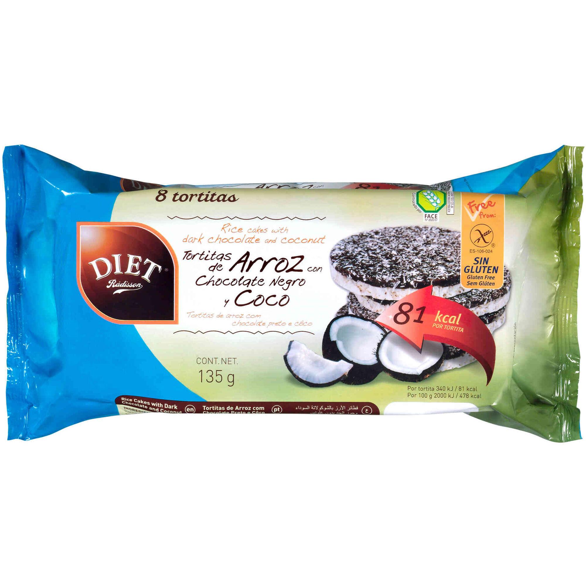 Tortitas de Arroz com Chocolate Negro e Coco sem Glúten, , hi-res