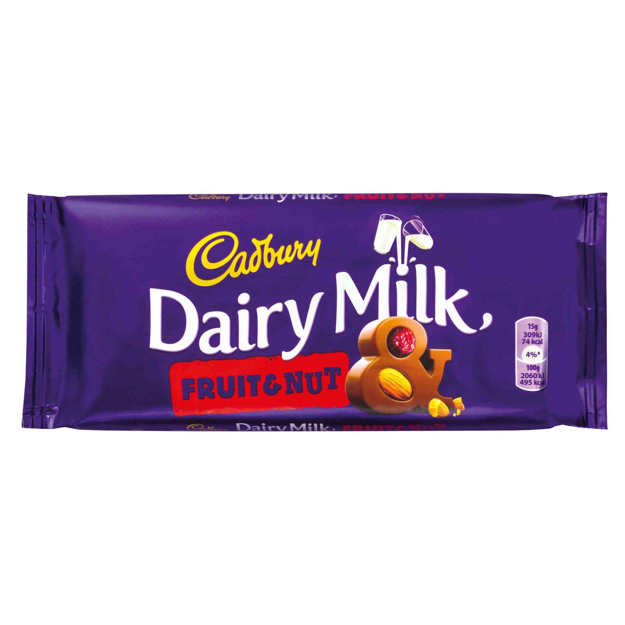 Tablete de Chocolate de Leite com Frutos Secos e Passas Dairy Milk