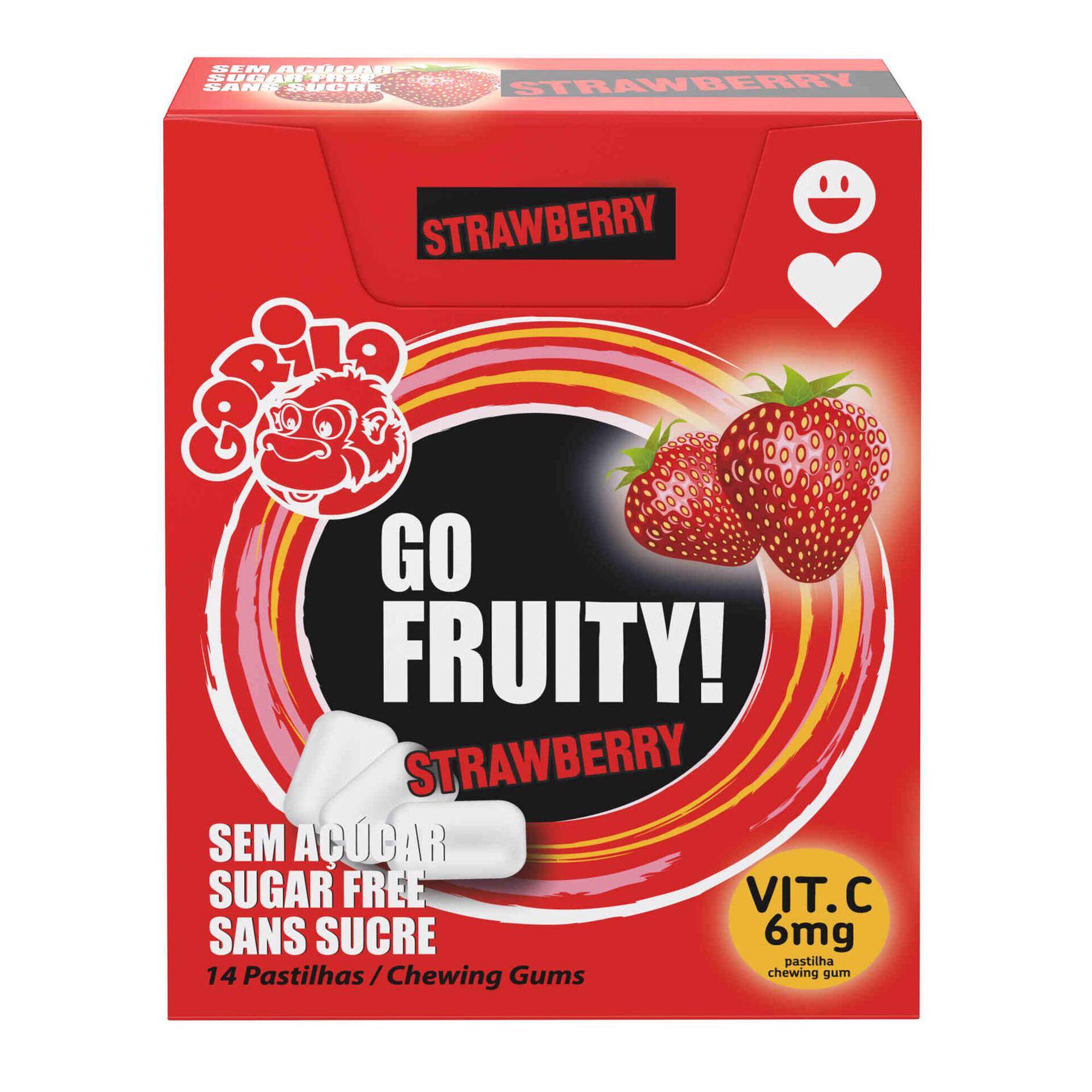 Drageias Gorila Go Fruity sem Açúcar Morango