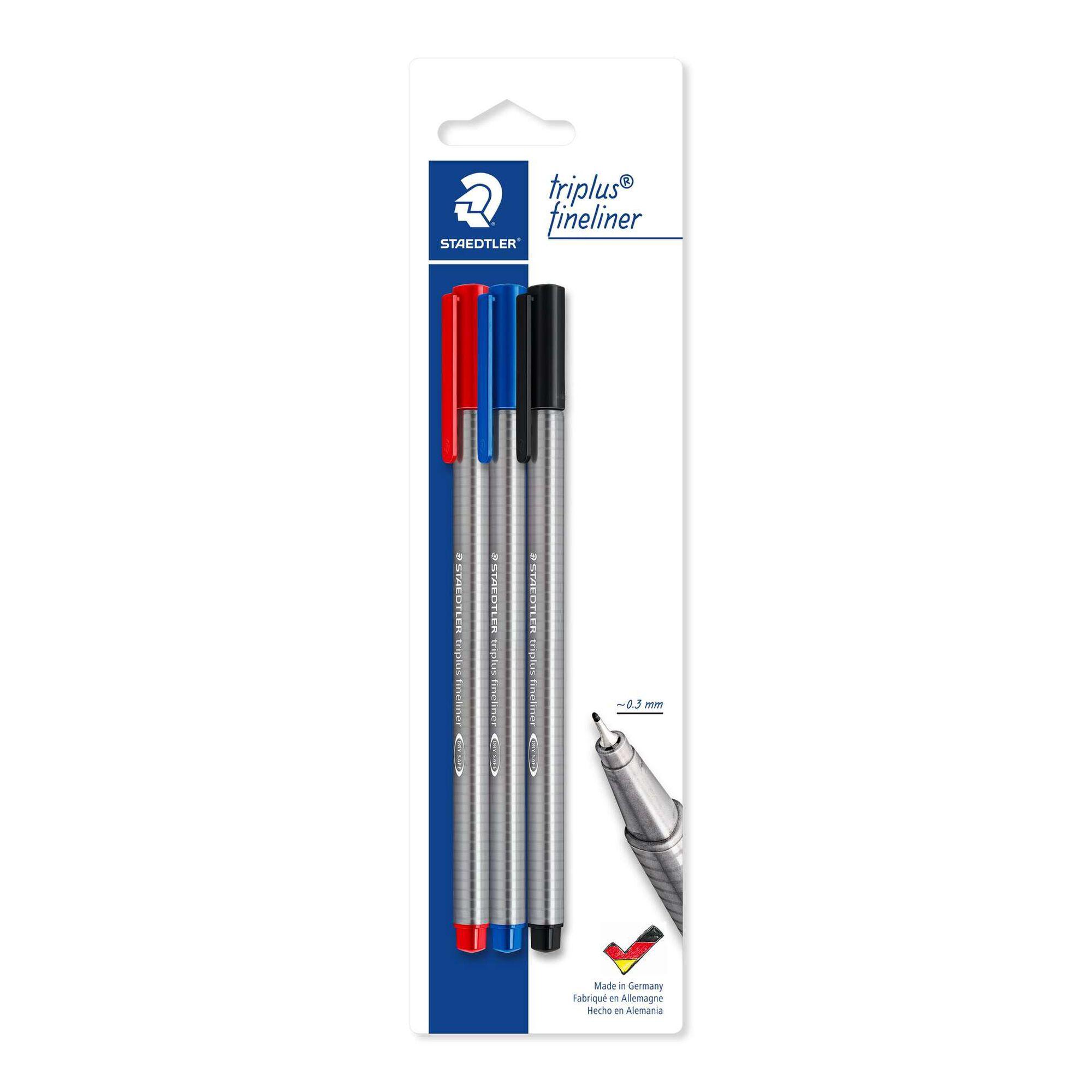 Marcador Triplus Fineliner com Tinta Preta, Azul e Vermelha