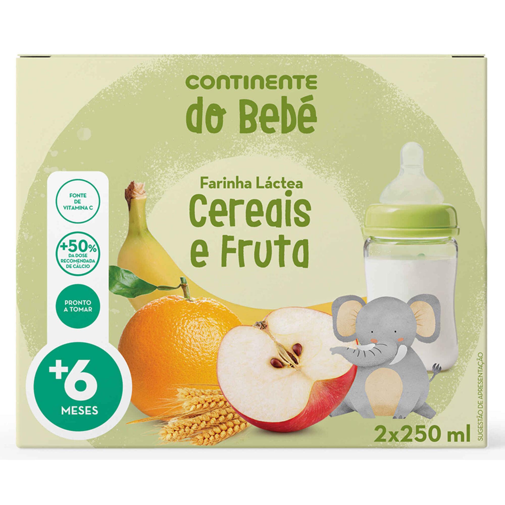 Papa Infantil Farinha Láctea Cereais e Fruta +6 Meses