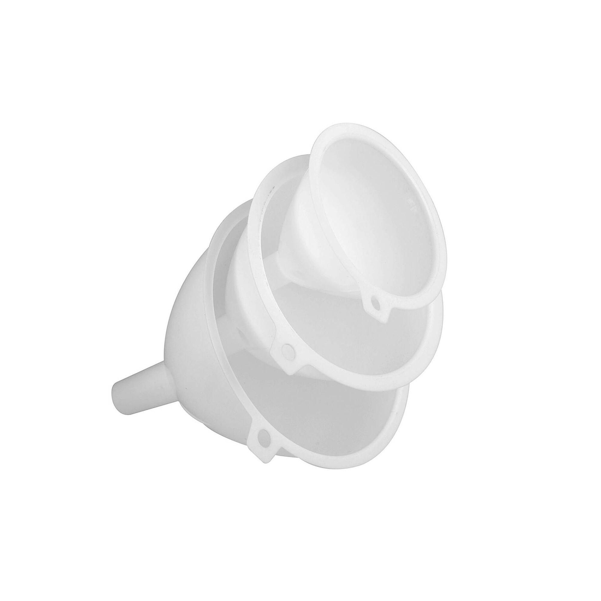 Conjunto 3 Funis Plástico Brancos Essencial