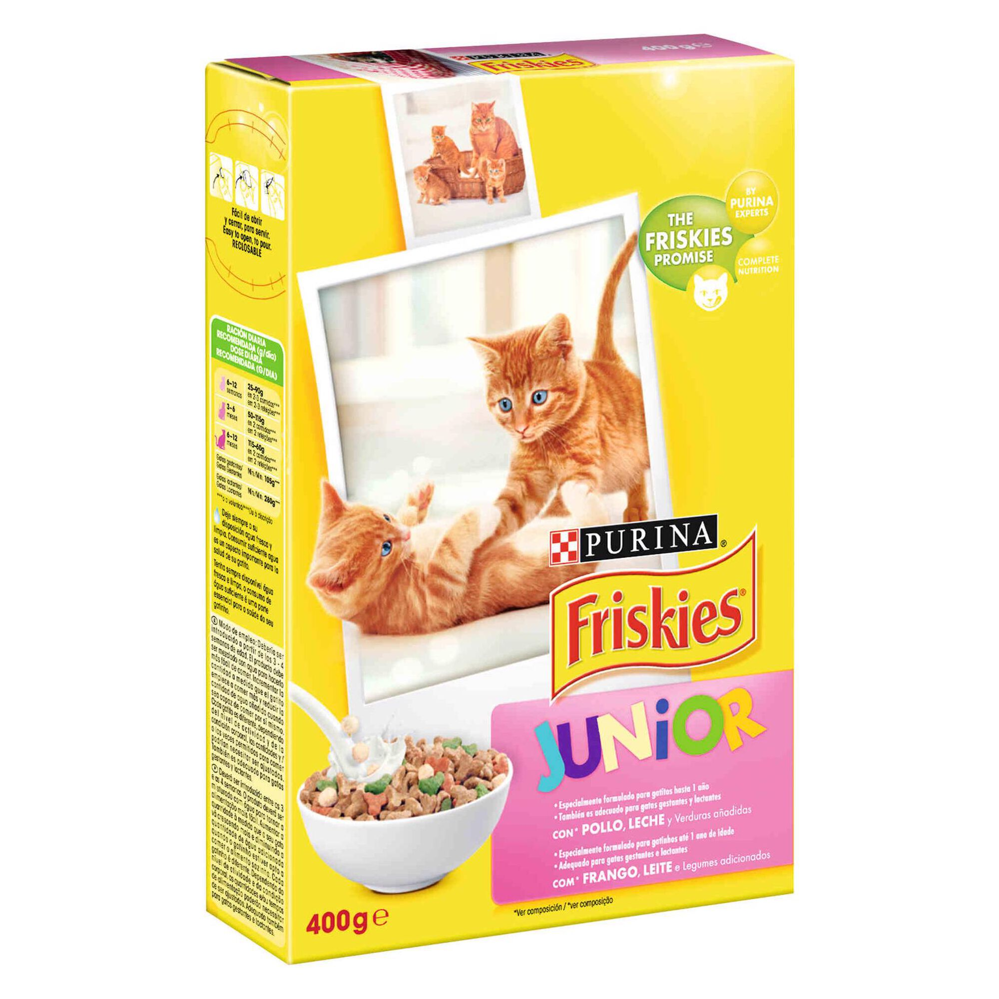 Ração para Gato Júnior Frango, Leite e Legumes