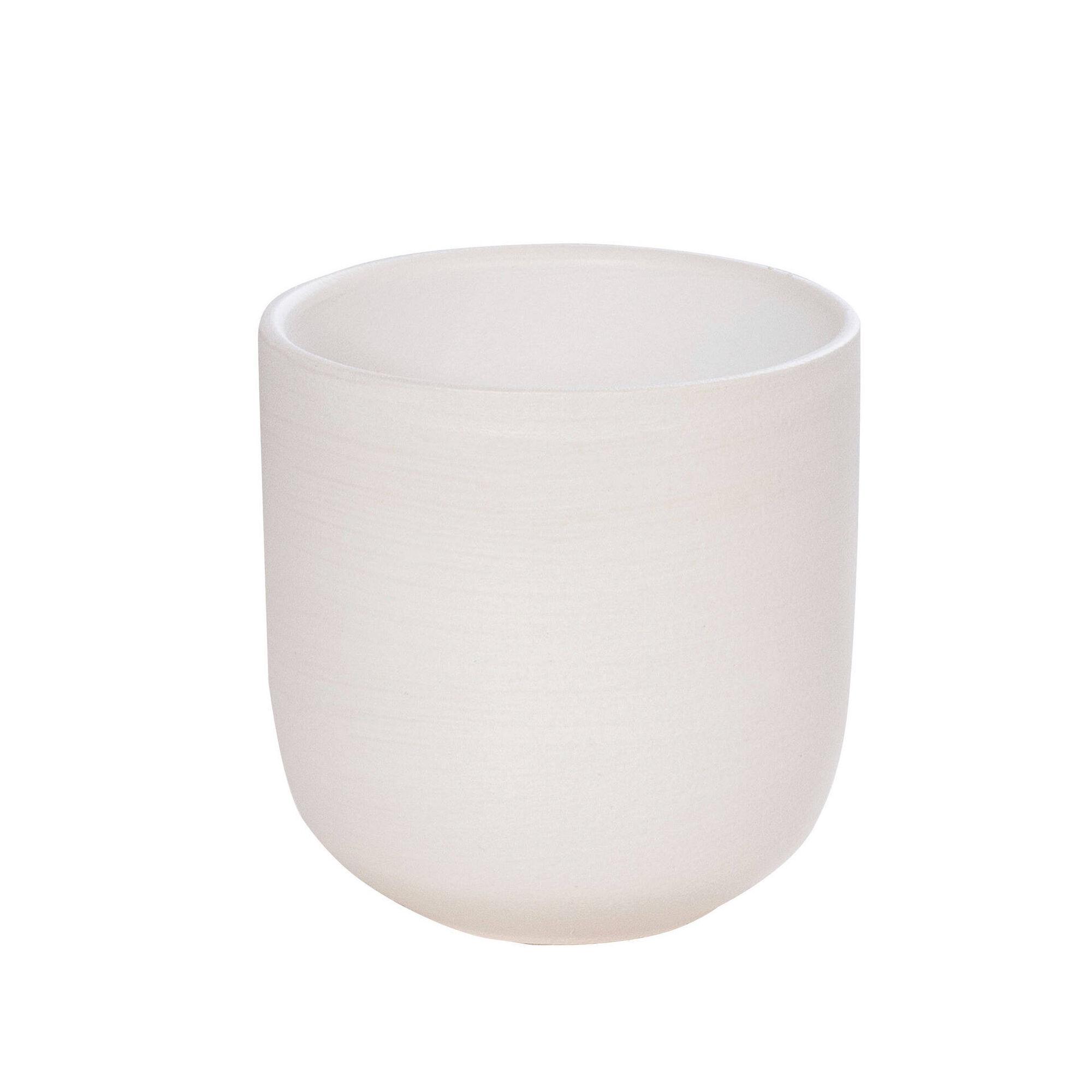 Vaso Redondo Faiança 14,5cm Branco
