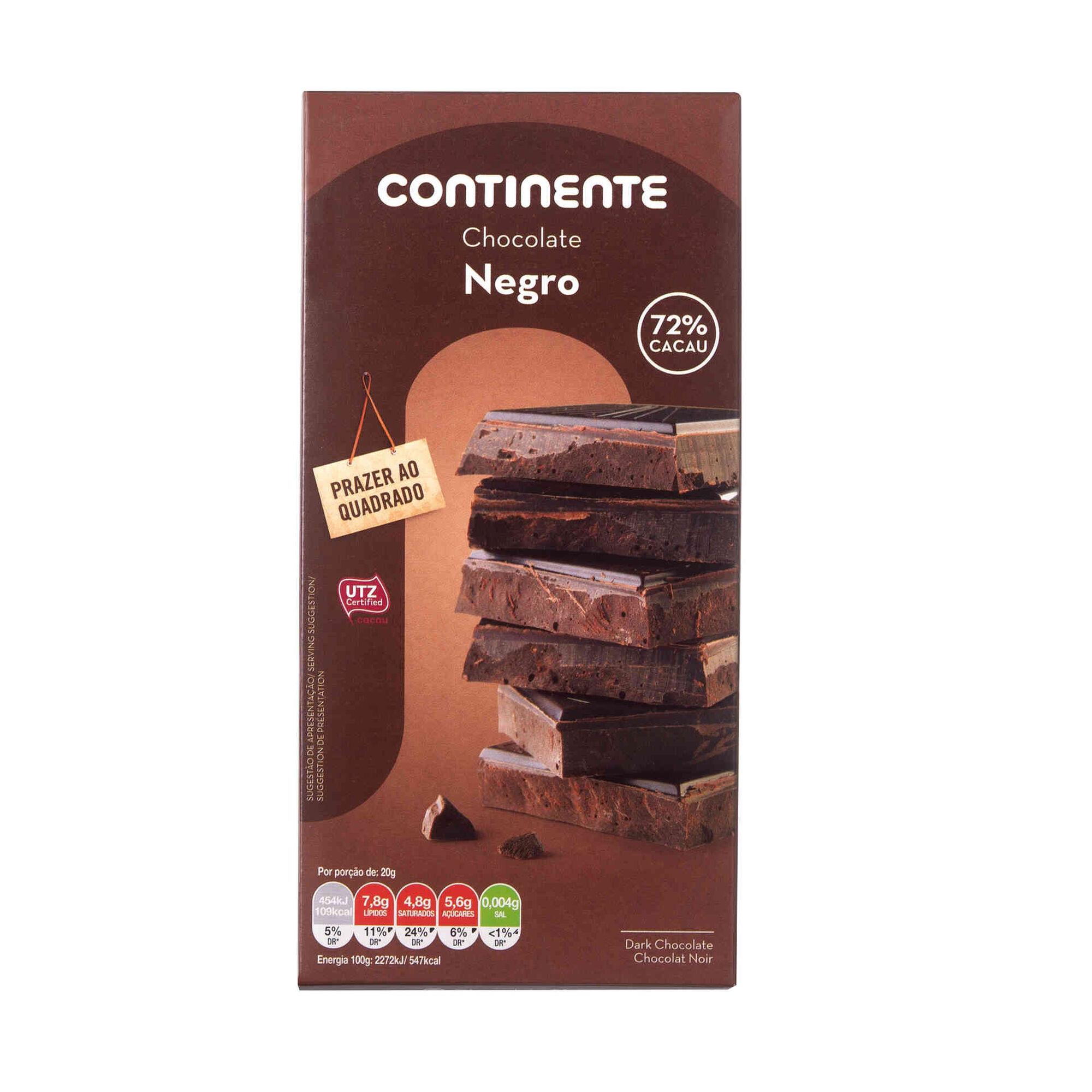 Tablete de Chocolate Negro 72% Cacau
