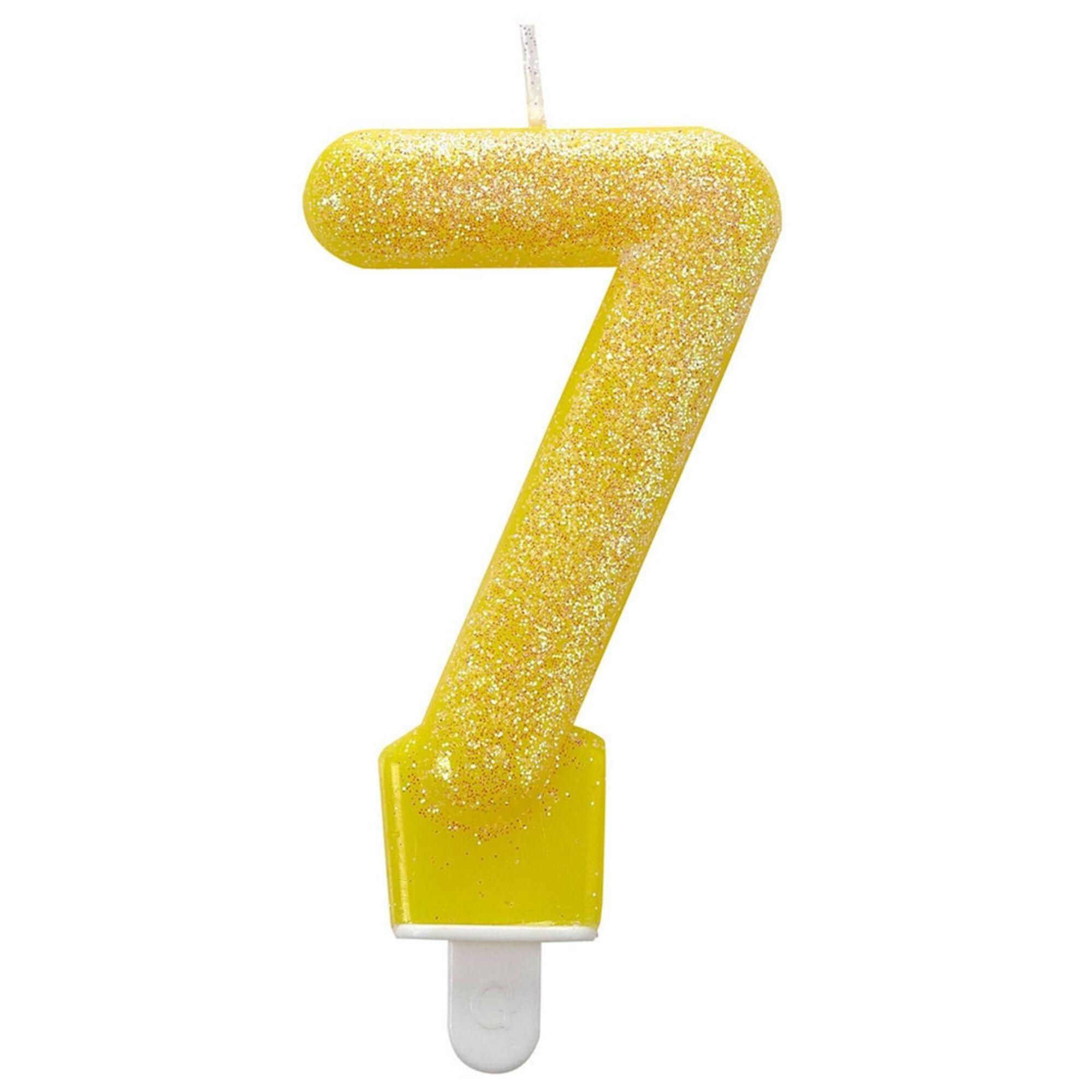 Vela Nº7 Amarela Glitter