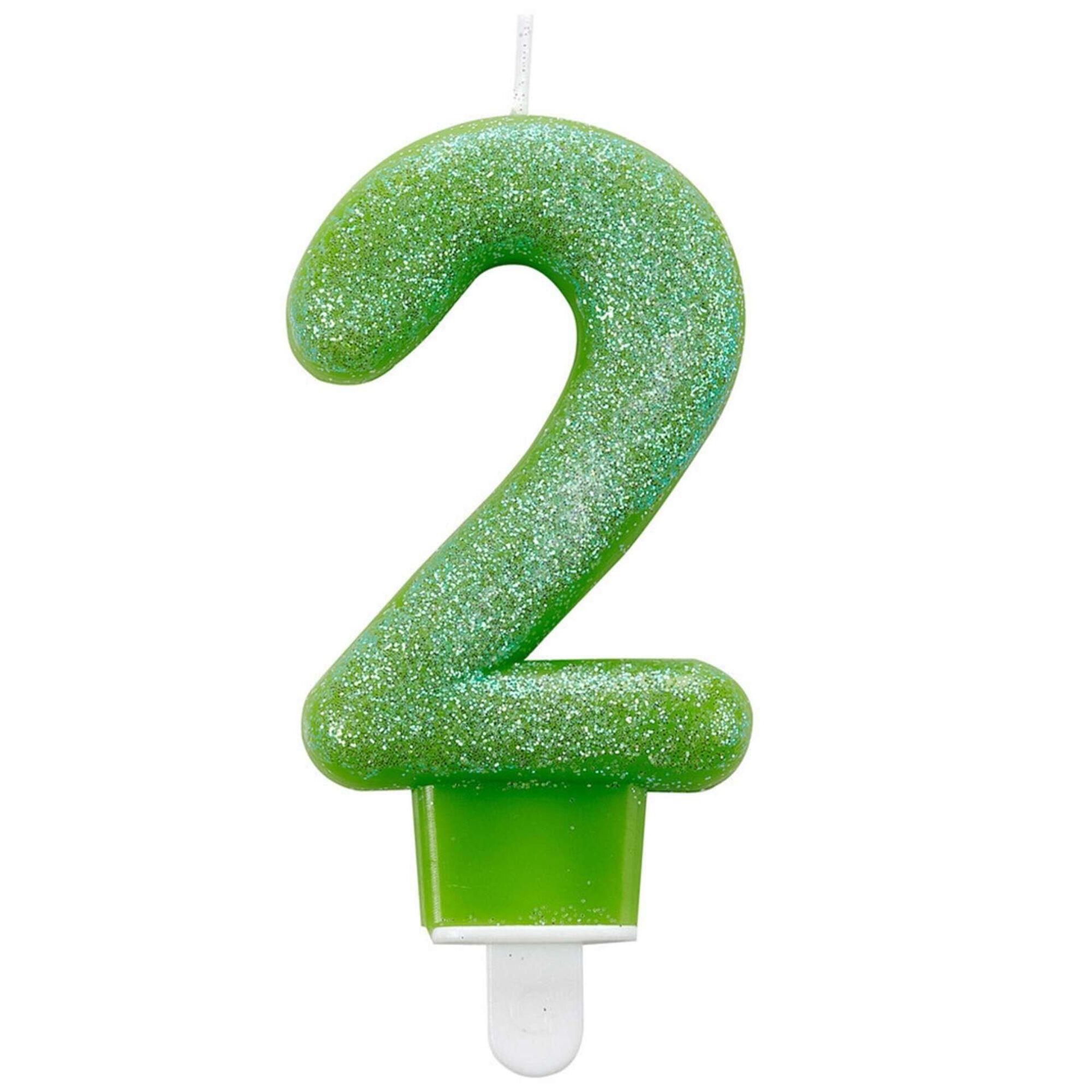 Vela Nº2 Verde Glitter