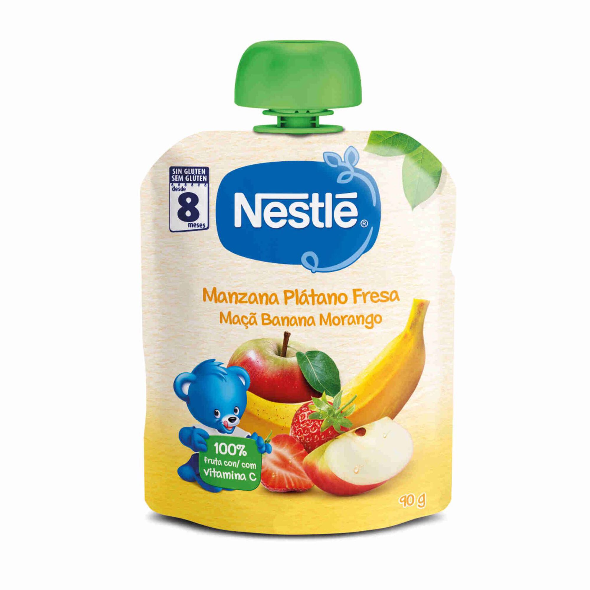 Saqueta de Fruta Maçã, Banana e Morango sem Glúten +8 Meses