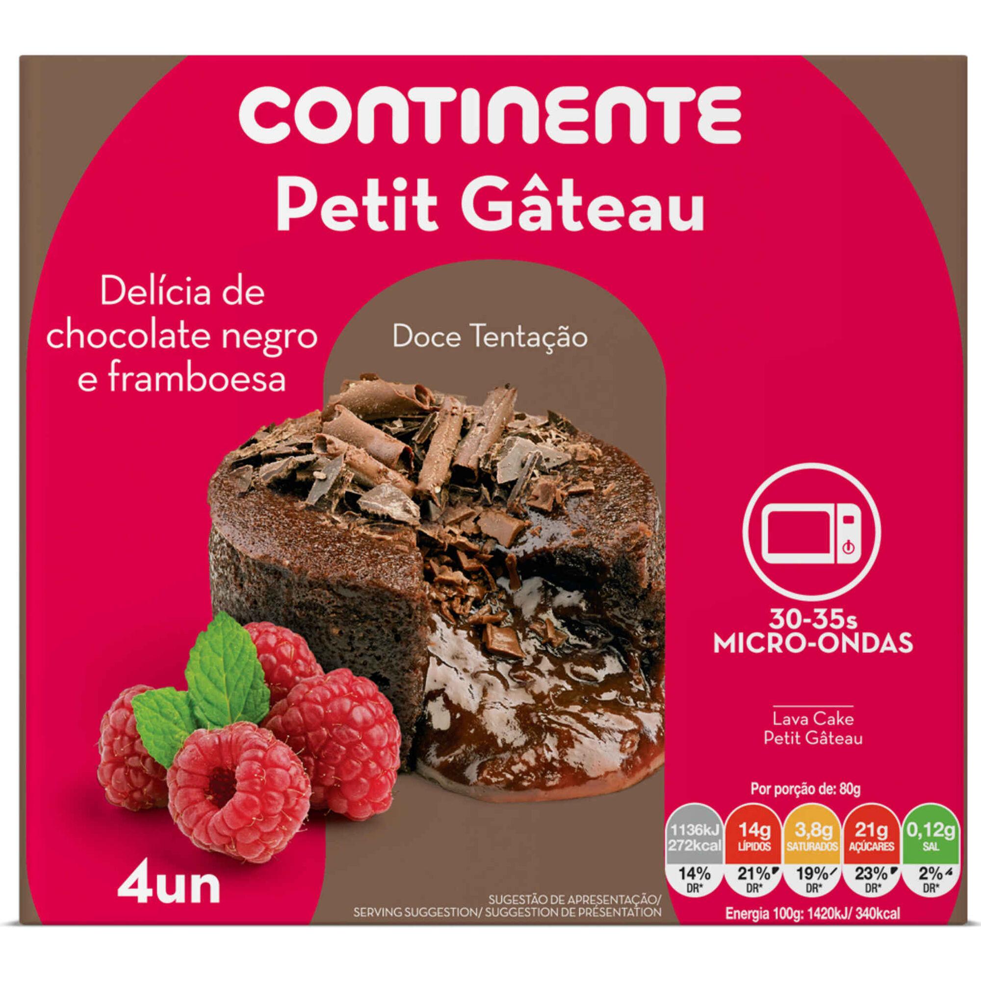 Petit Gâteau de Chocolate Negro e Framboesa