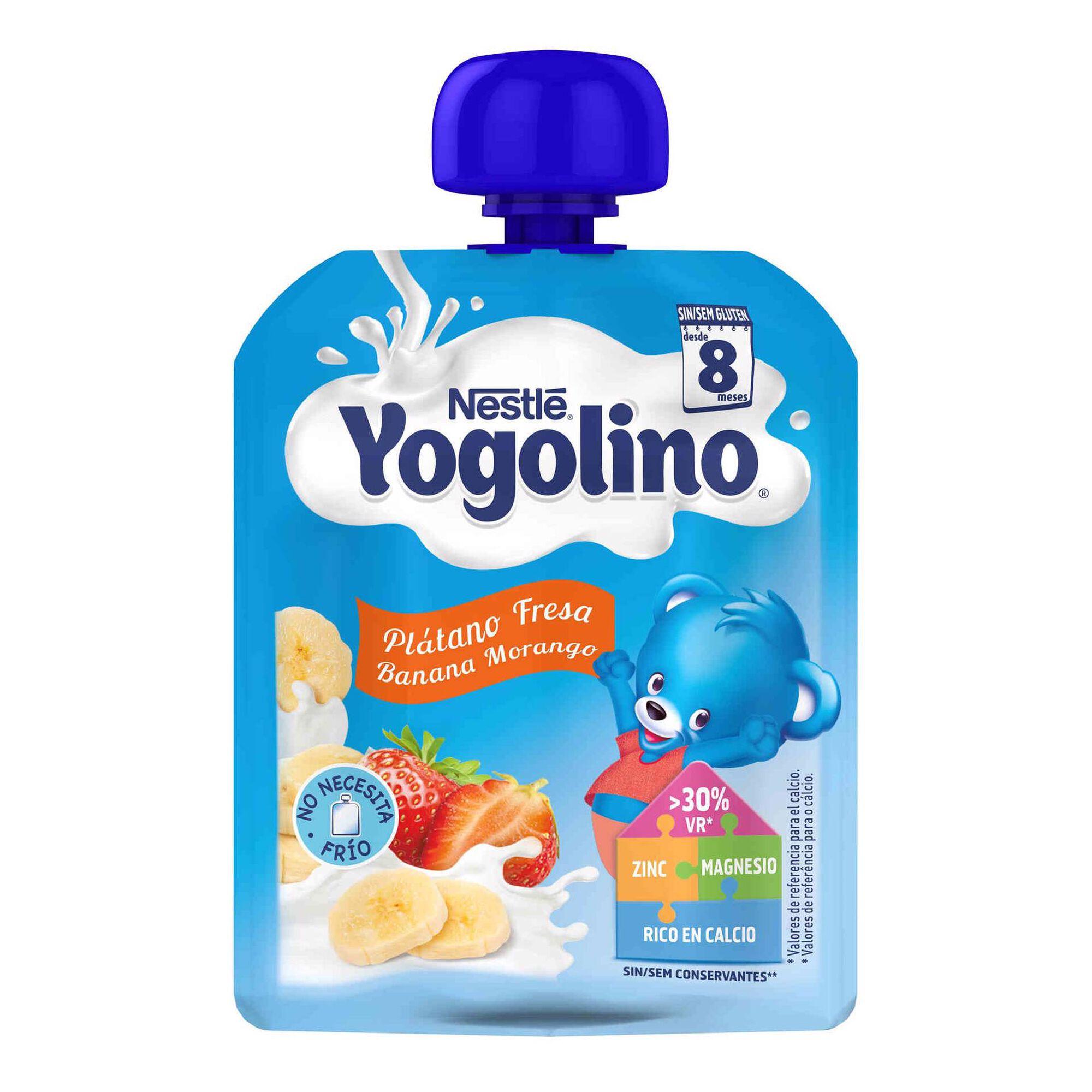 Alimento Lácteo de Banana e Morango Yogolino sem Glúten +8 Meses Pacotinho