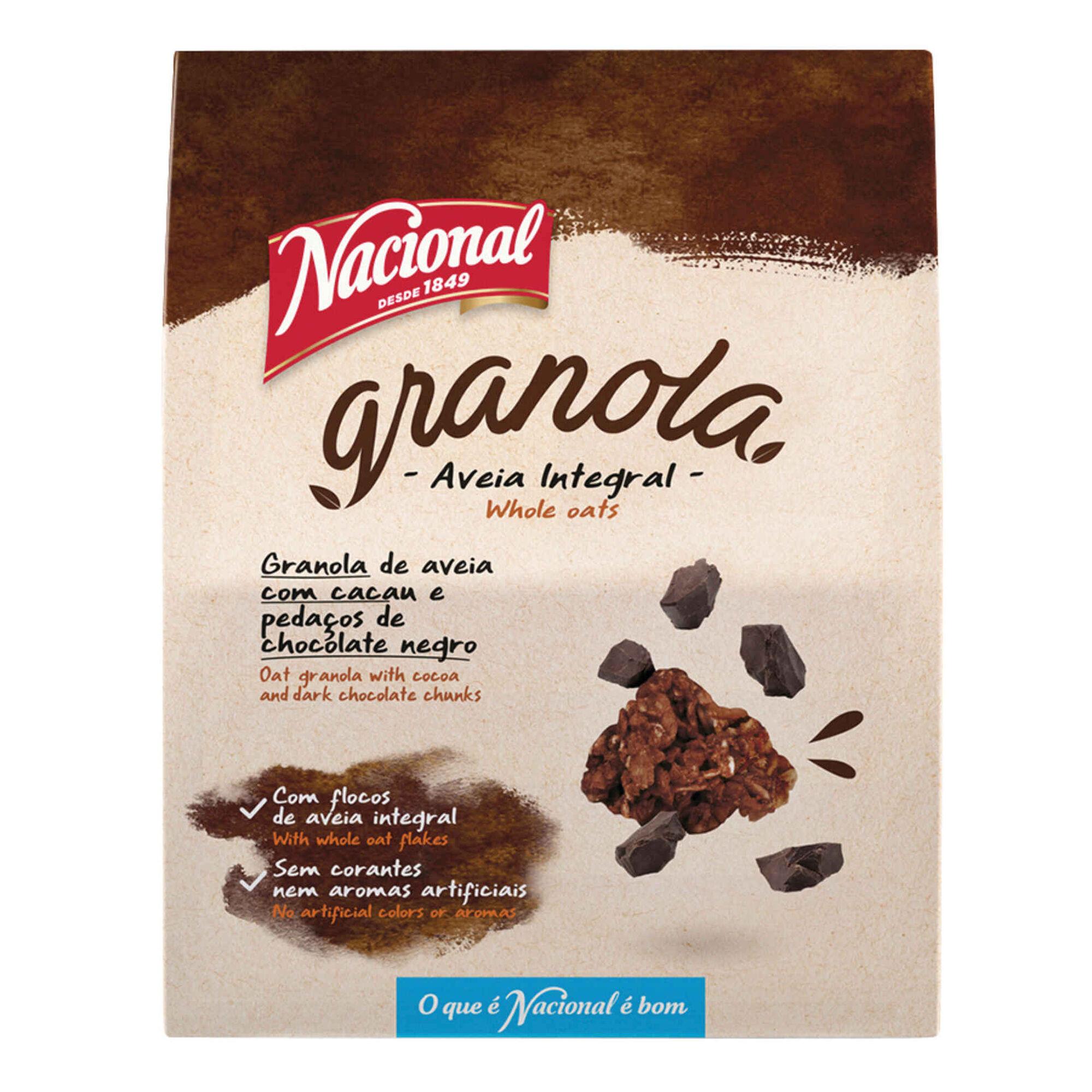 Granola de Aveia Integral com Cacau e Chocolate Negro