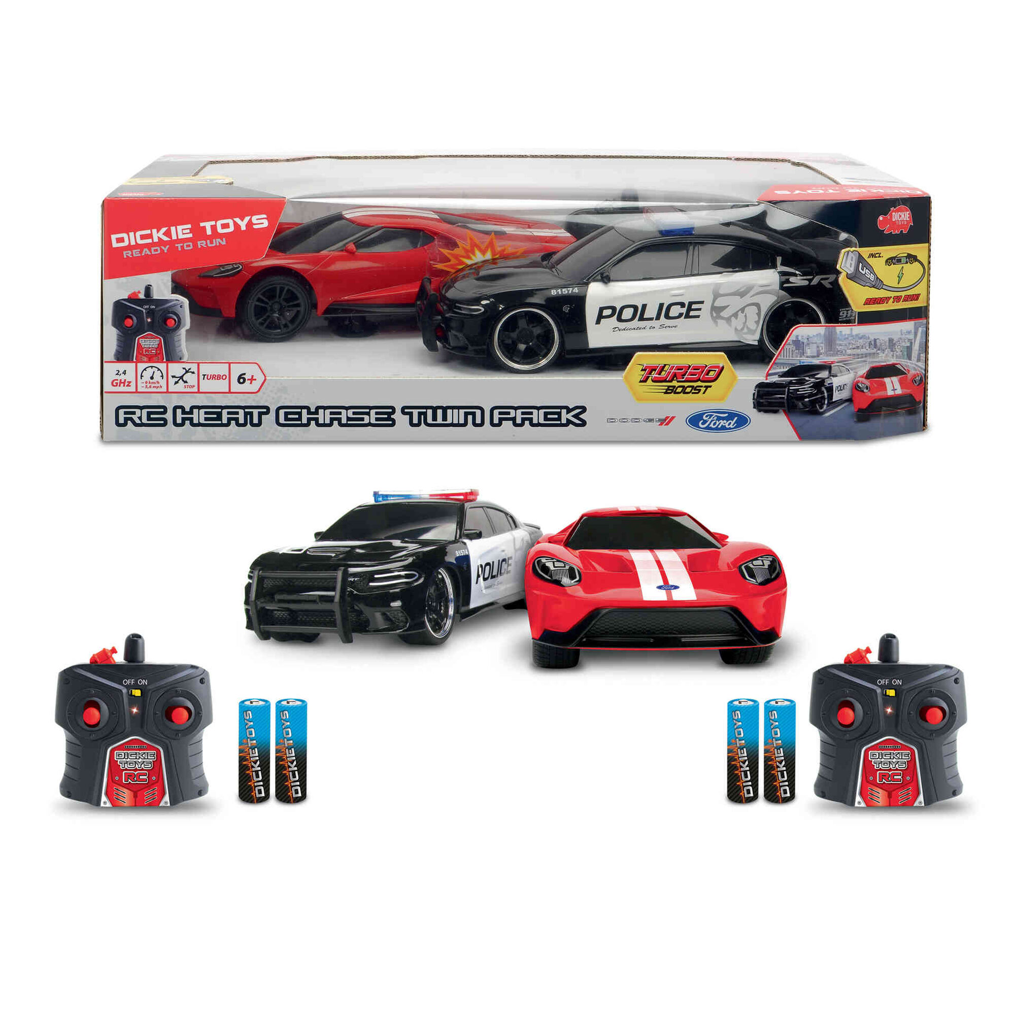 Rádio Controlo Twin Pack 1:16 - Dodge Challenger e Ford GT