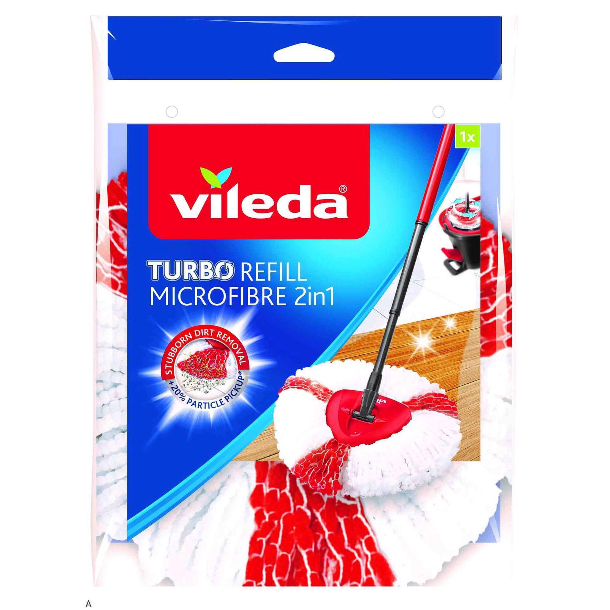 Recarga Esfregona Tiras Microfibra Brancas e Vermelhas Turbo 2 em 1