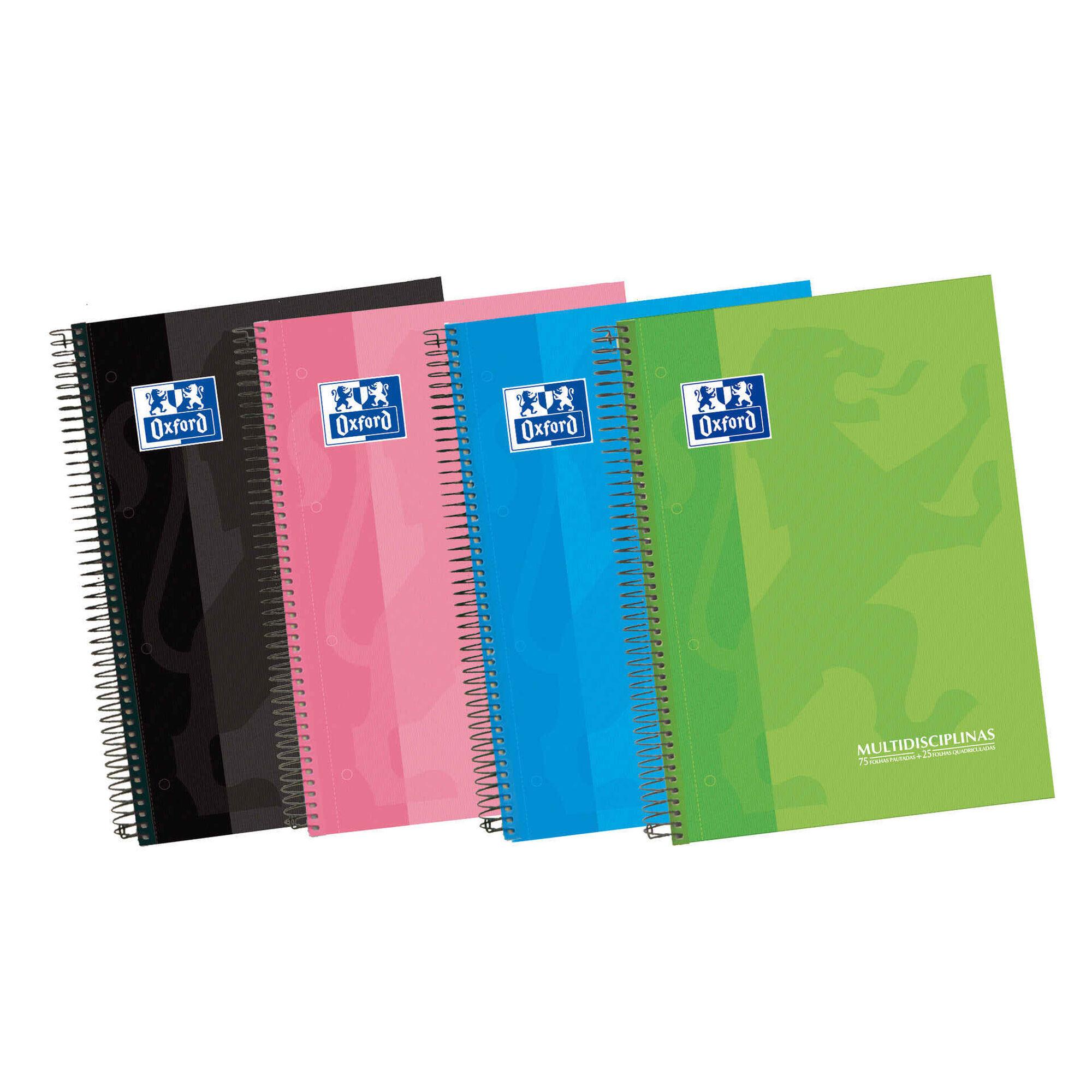 Caderno Espiral A4 Pautado e Quadriculado (várias cores)