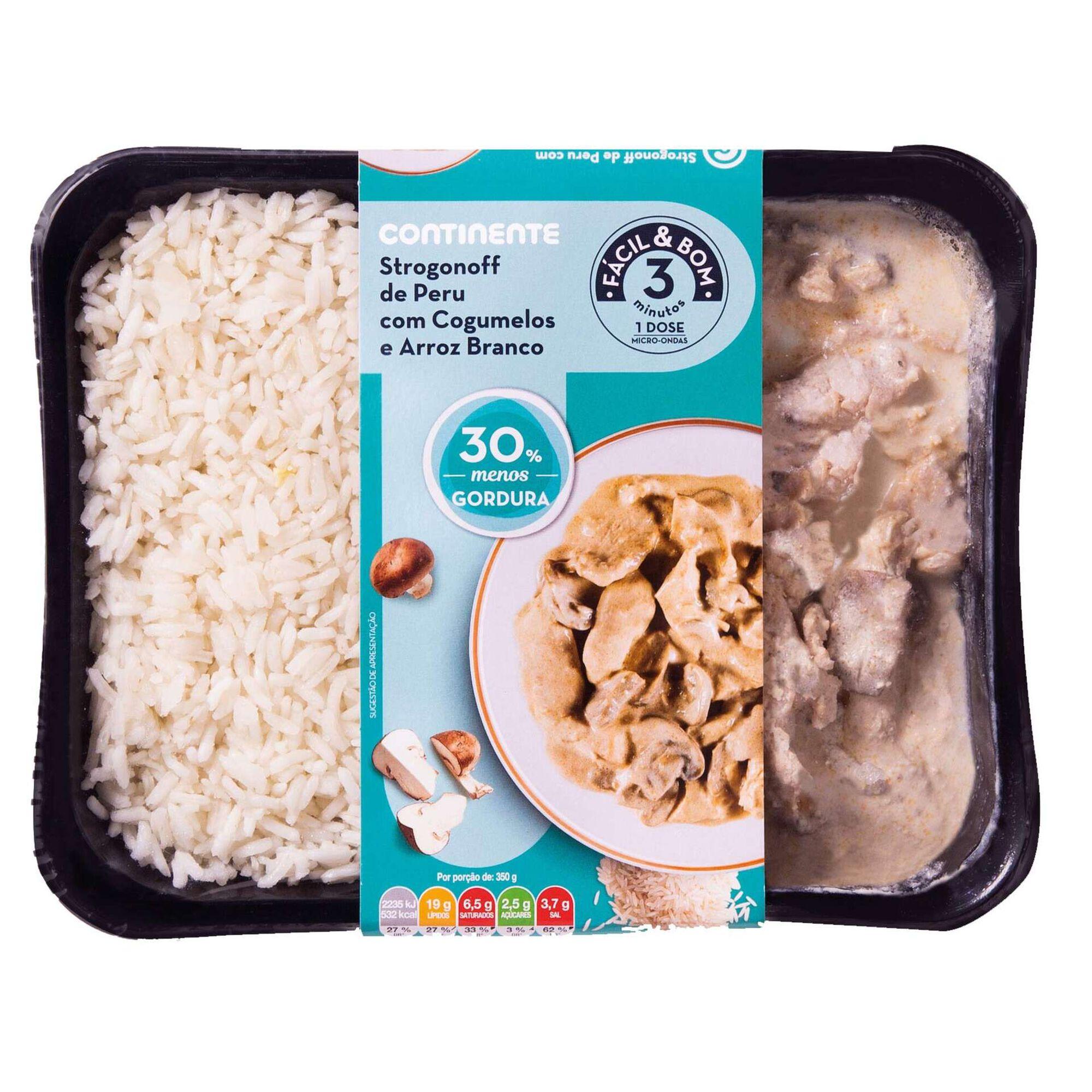 Strogonoff de Peru com Cogumelos e Arroz - 30% gordura