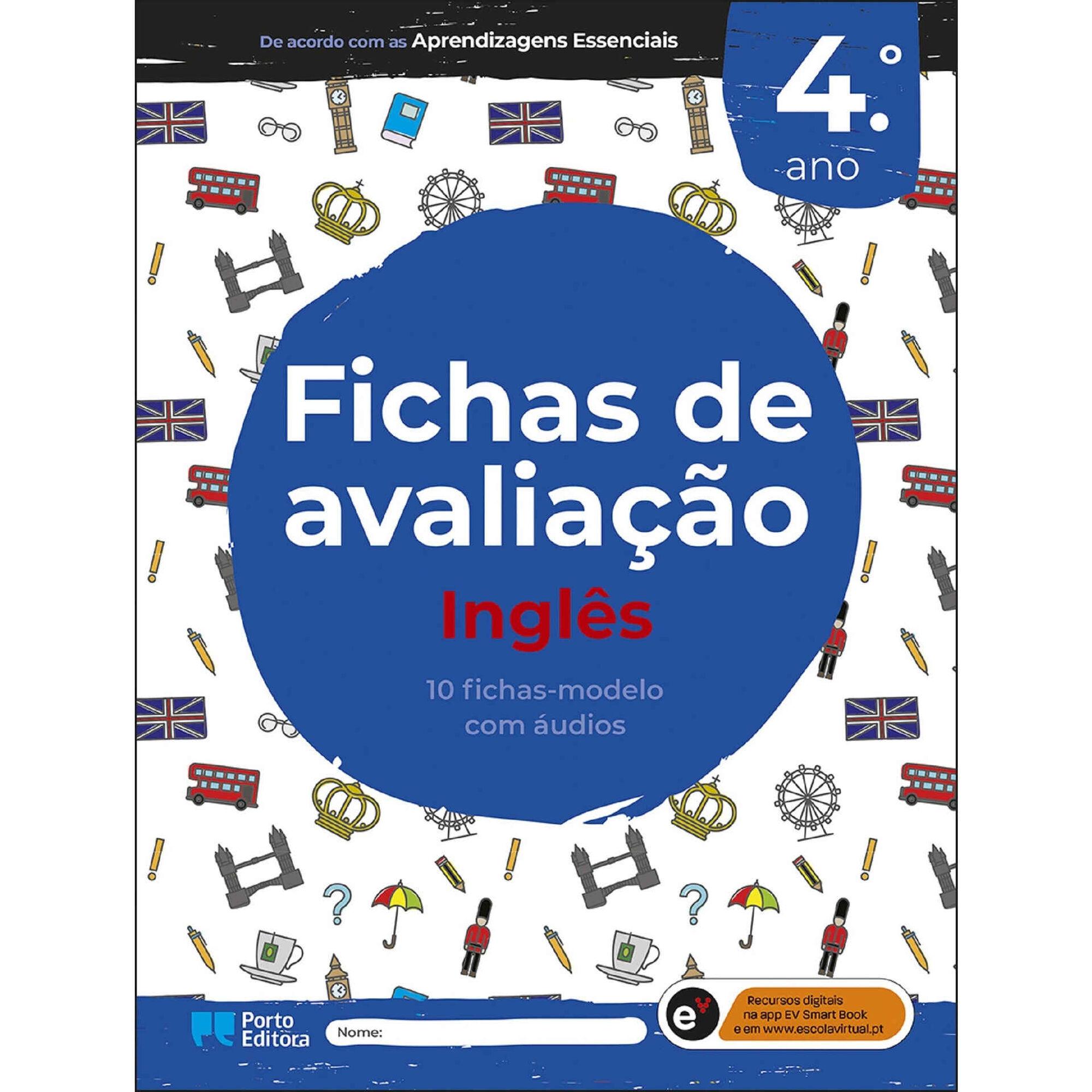 Fichas de avaliação - Inglês - 4º Ano