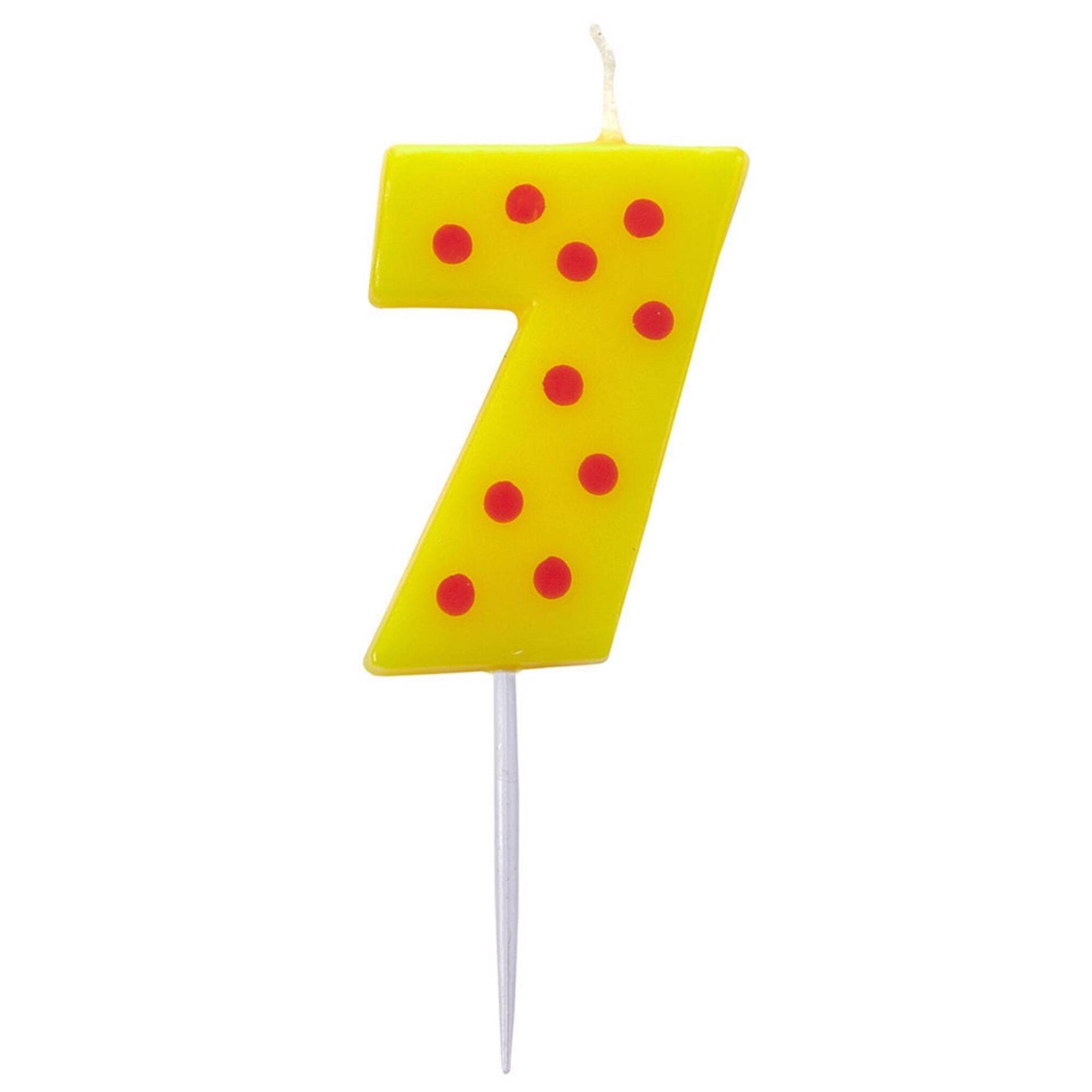 Vela Nº7 Amarela às Bolinhas
