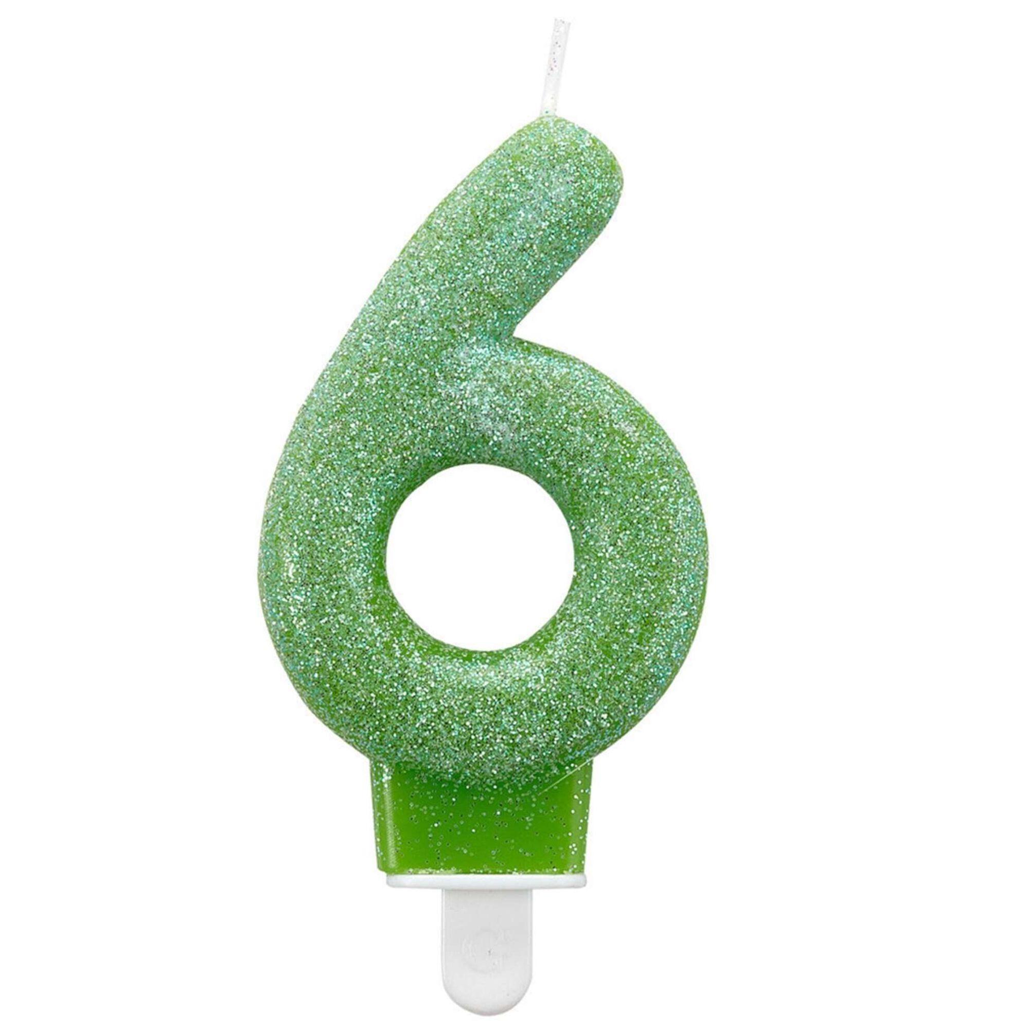 Vela Nº6 Verde Glitter