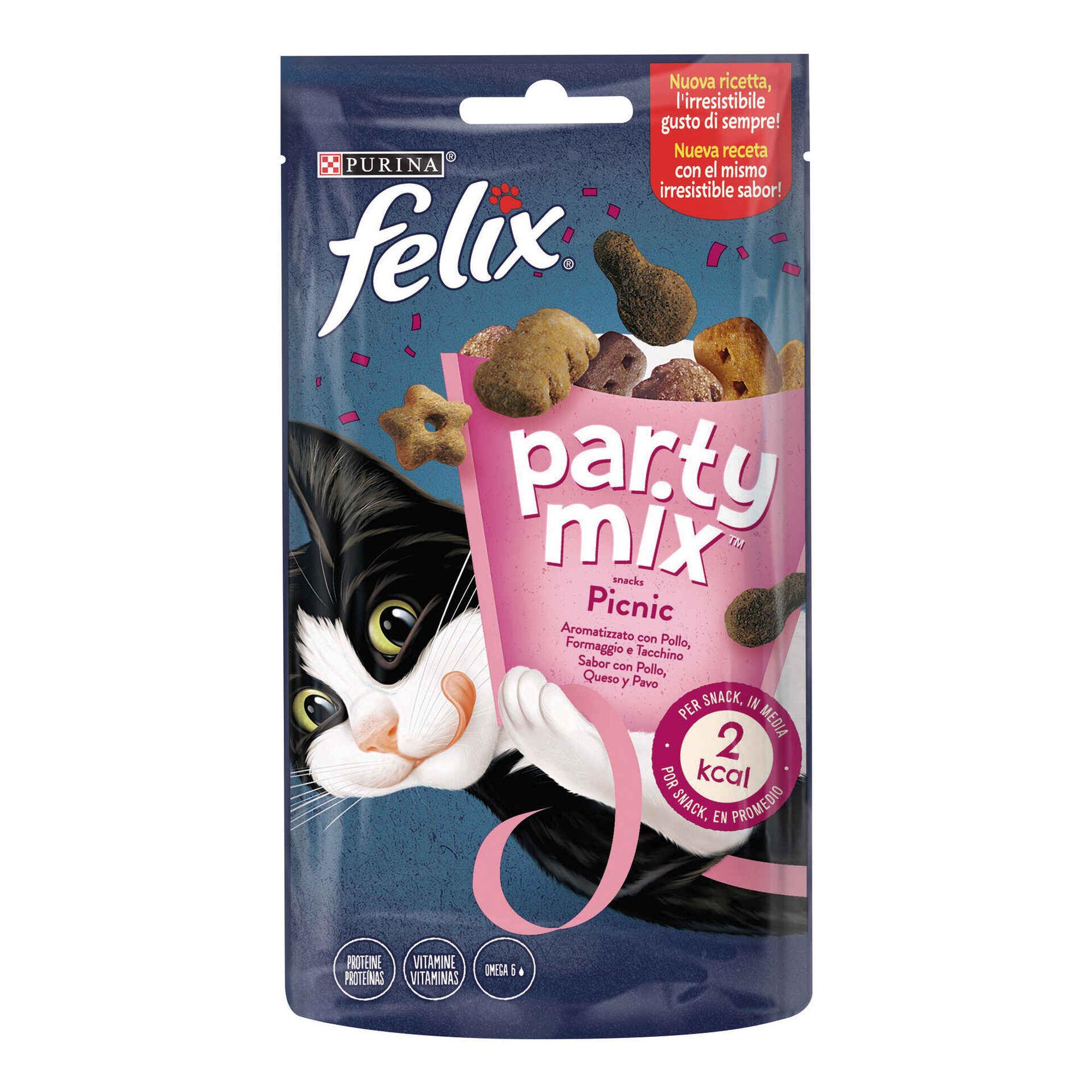 Snack para Gato Adulto Party Mix Picnic Frango, Queijo e Pato