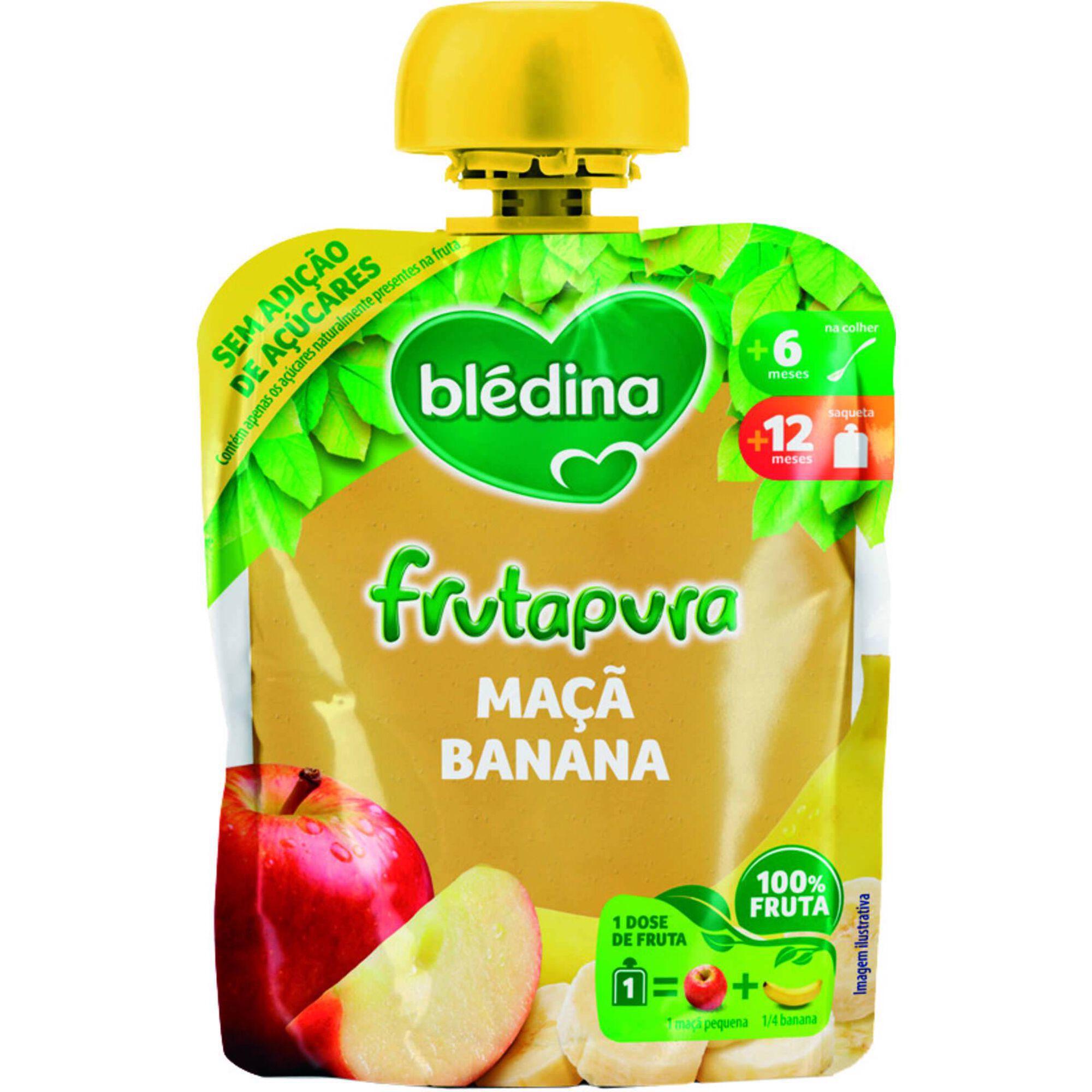 Saqueta de Frutapura Maçã e Banana +6 Meses