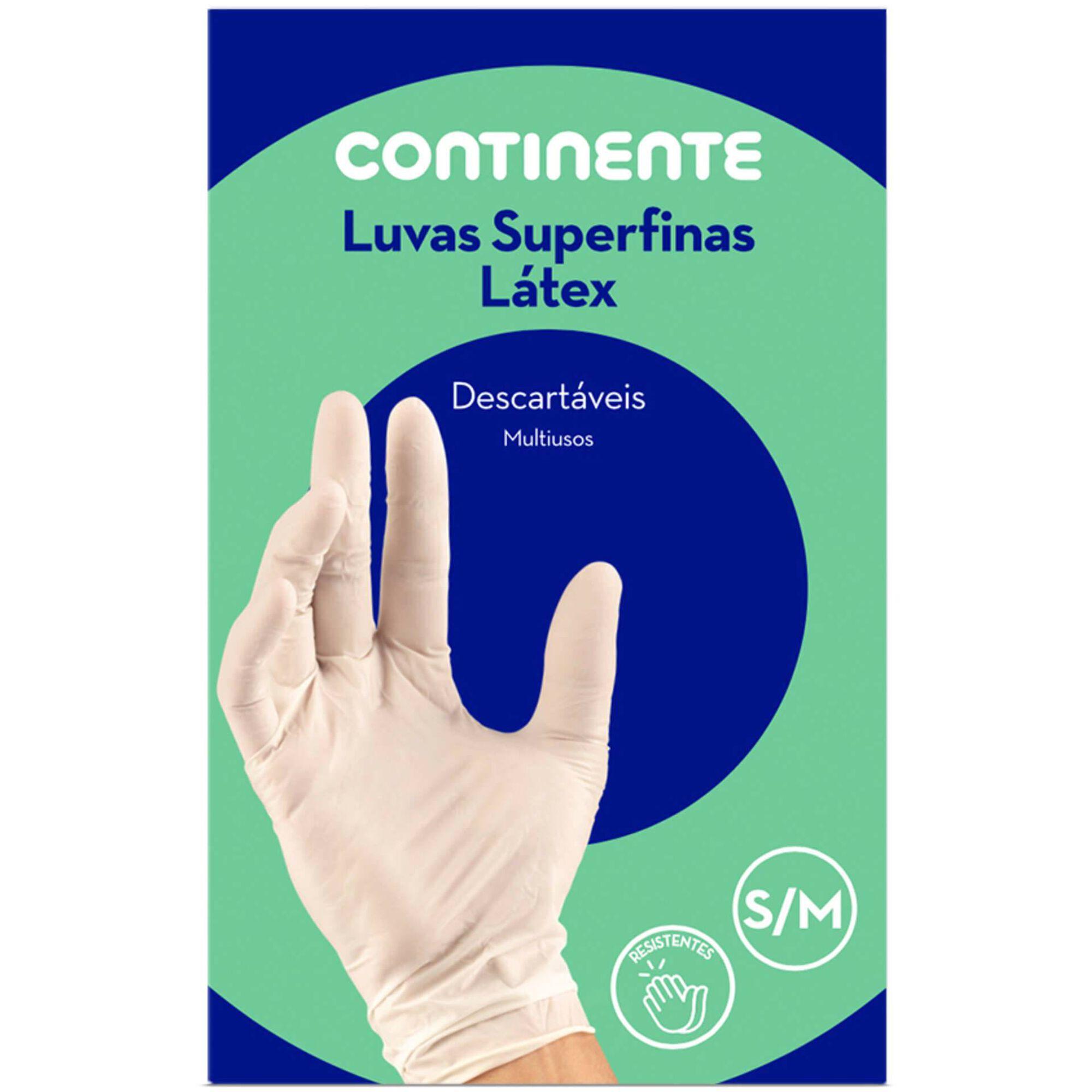 Luvas Descartáveis Superfinas Látex Tam. S/M