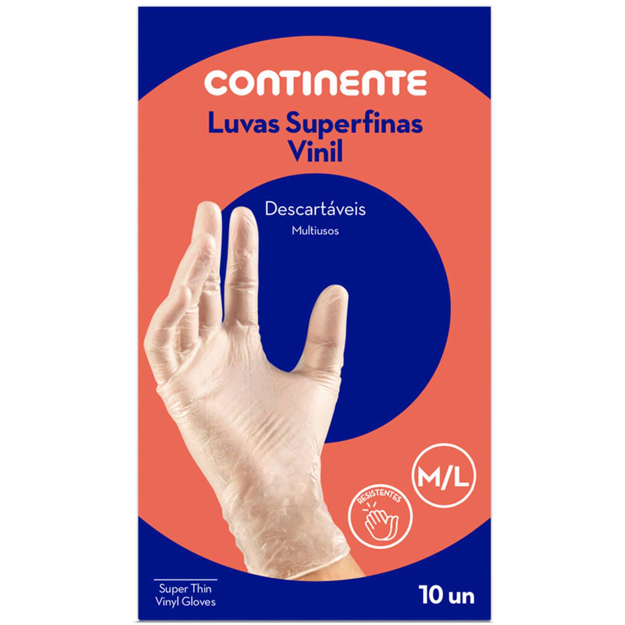 Luvas Descartáveis Superfinas Vinil Tam. M/L