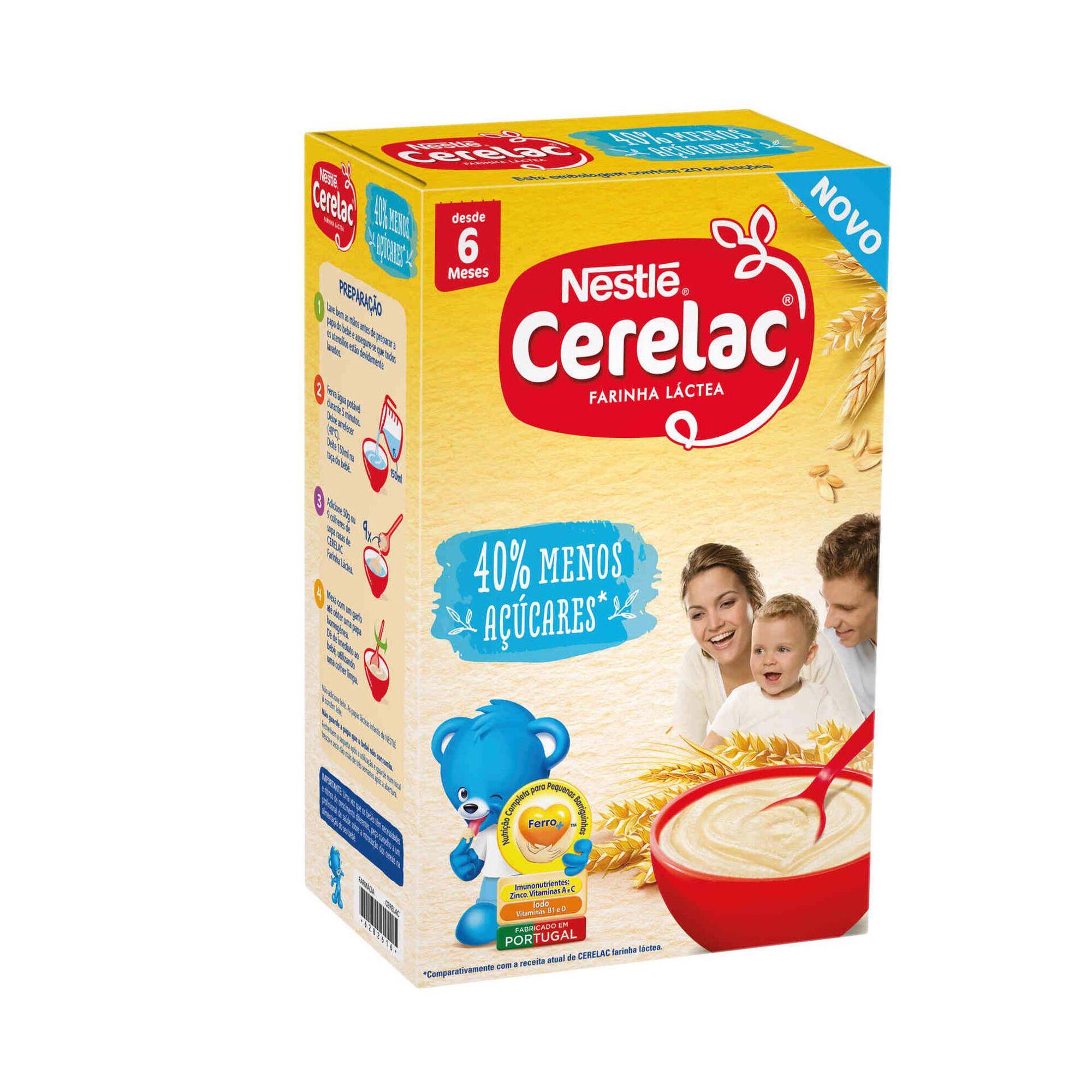 Papa Infantil Farinha Láctea 40% Menos Açúcares +6 Meses