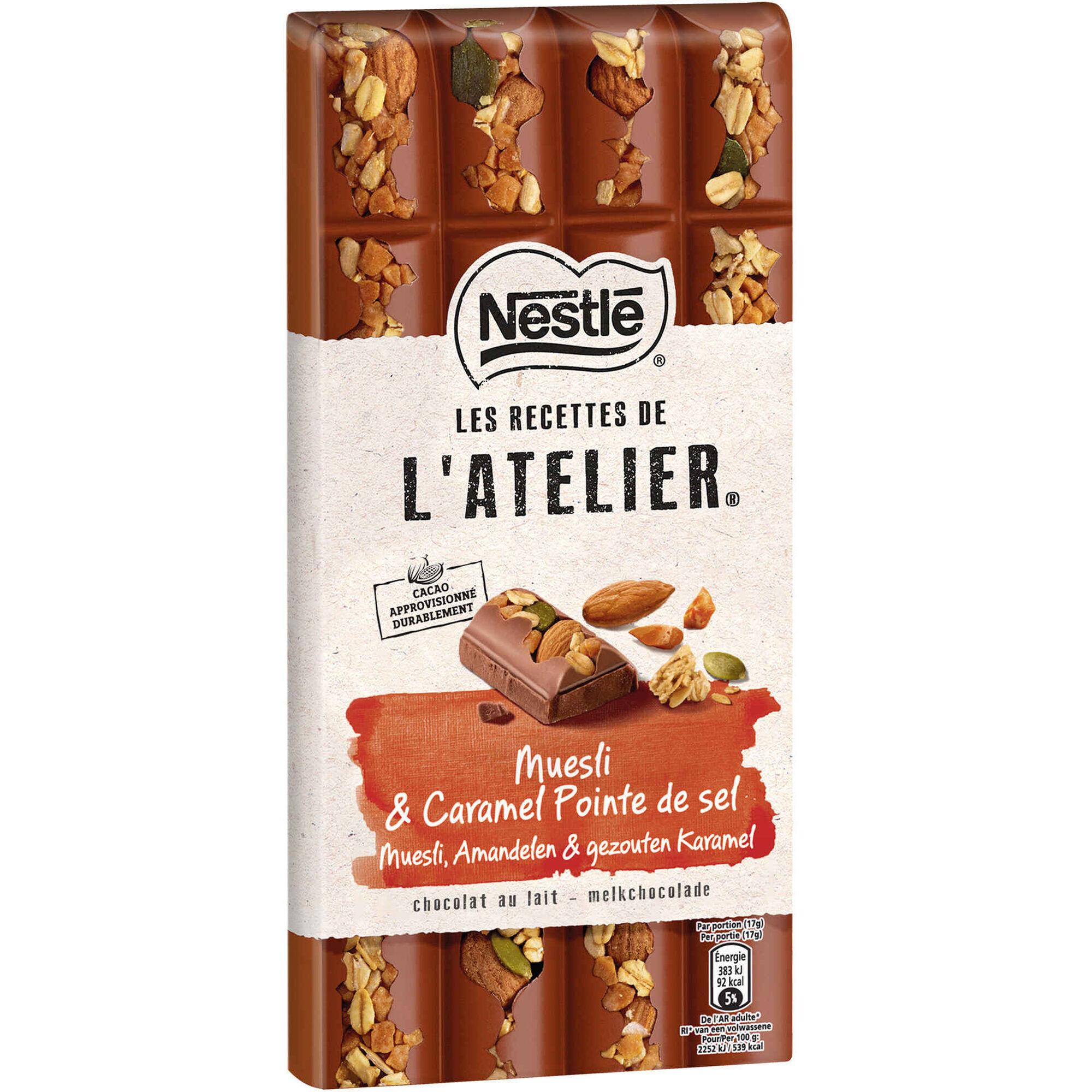 Tablete de Chocolate Negro com Muesli, Caramelo e Sal Les Recettes de L'Atelier