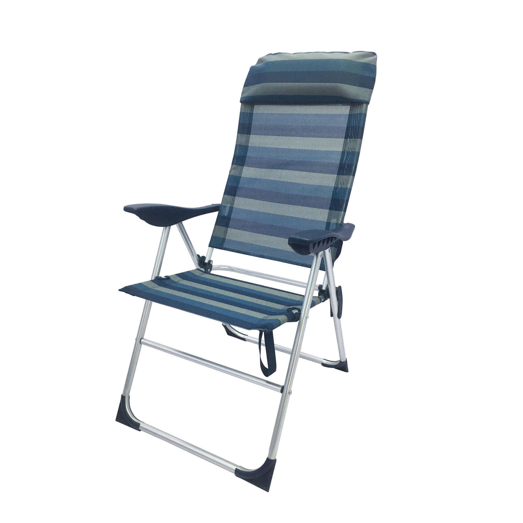 Cadeira de Praia Costas e Pernas Altas Azul e Branca